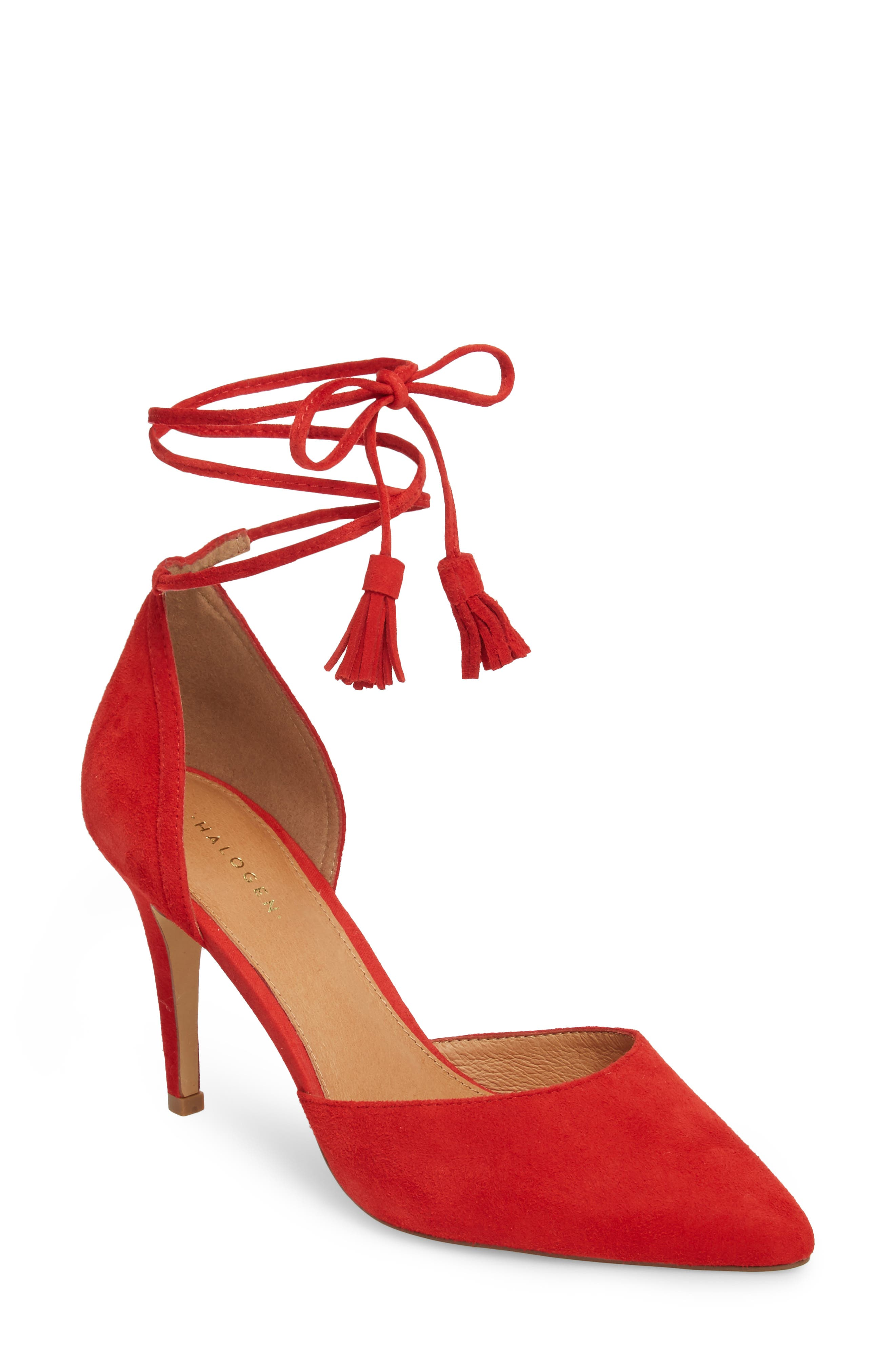 Mindy Lace-Up Pump,                             Main thumbnail 1, color,                             Red Suede