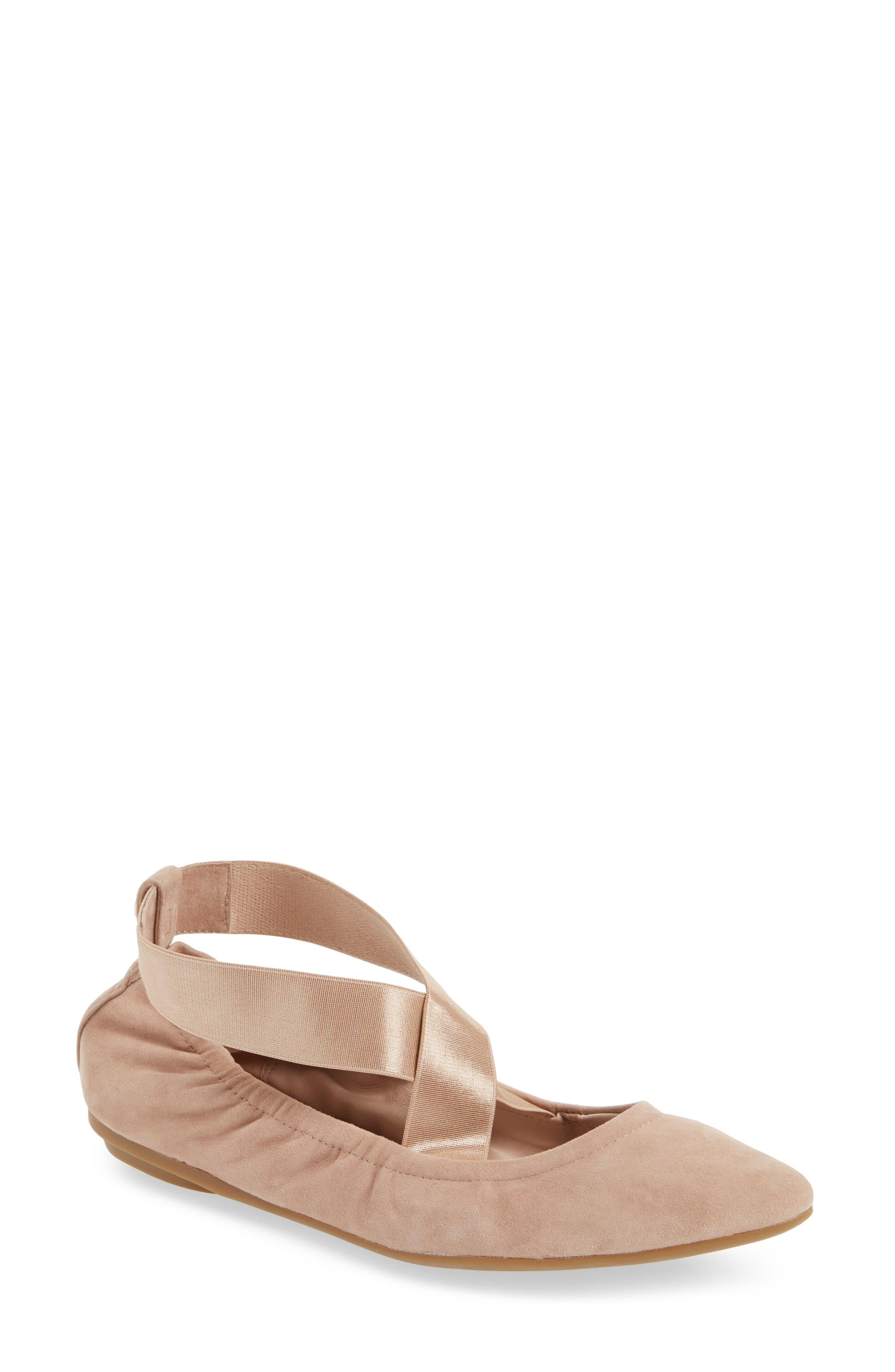 Edina Strappy Ballet Flat,                         Main,                         color, Soft Beige Suede