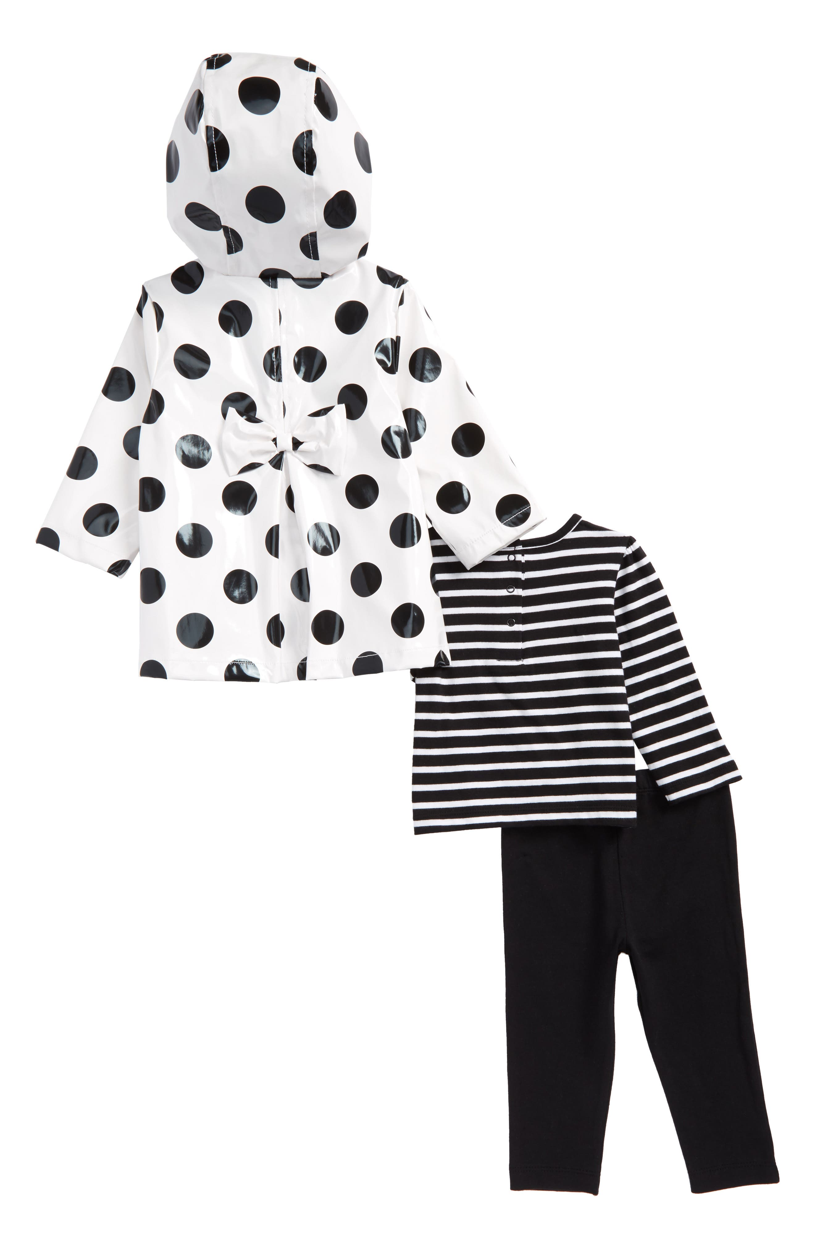 Alternate Image 2  - Little Me Daisy Stripe Tee, Leggings & Polka Dot Hooded Raincoat Set (Baby Girls)