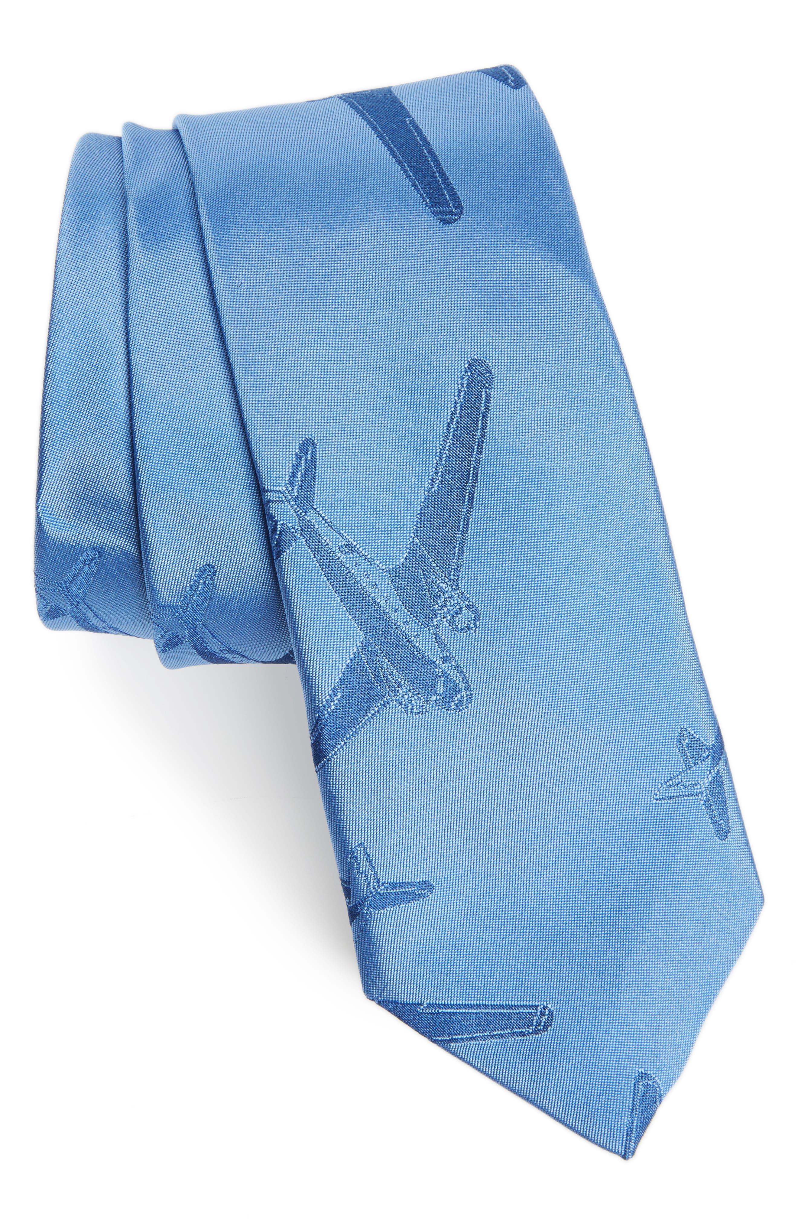 Plane Print Silk Tie,                             Main thumbnail 1, color,                             Blue