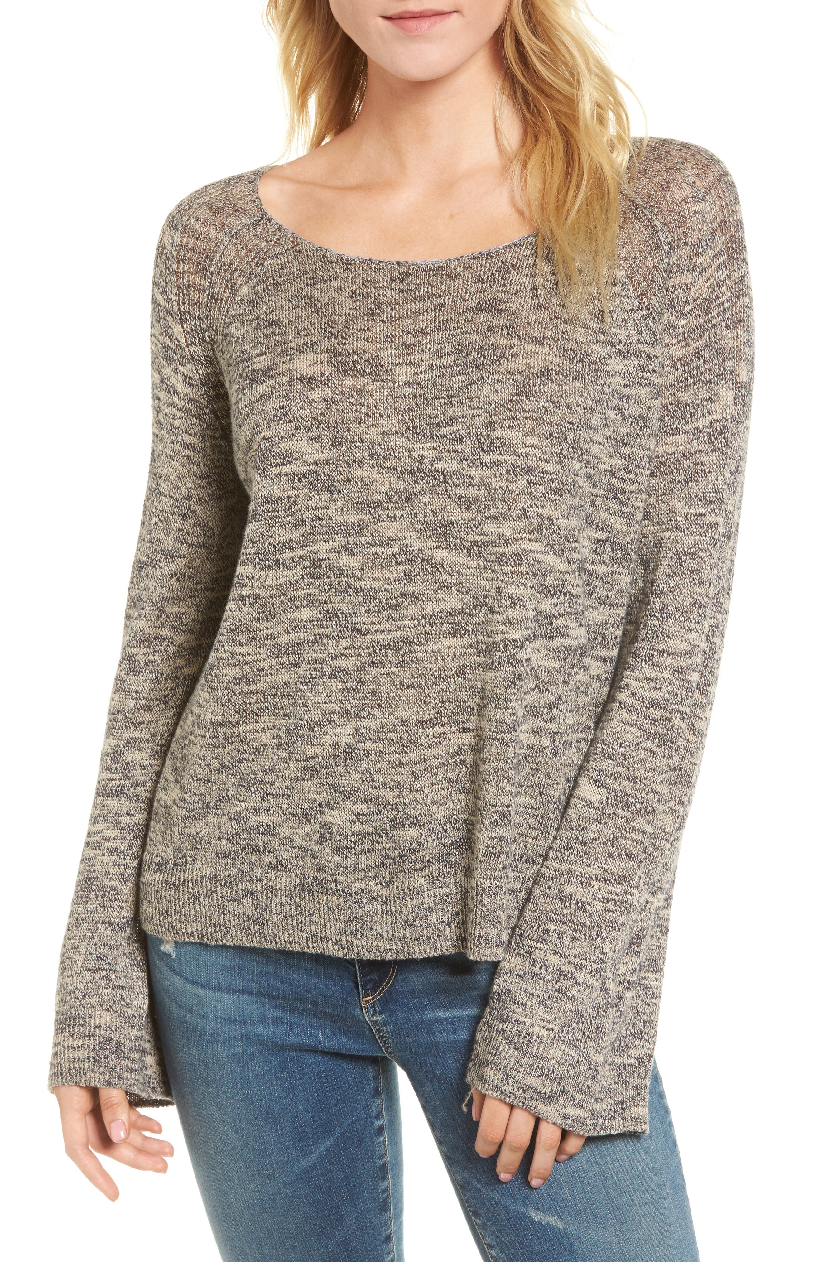 Flora Sweater,                             Main thumbnail 1, color,                             Speckled Navy/ Beige