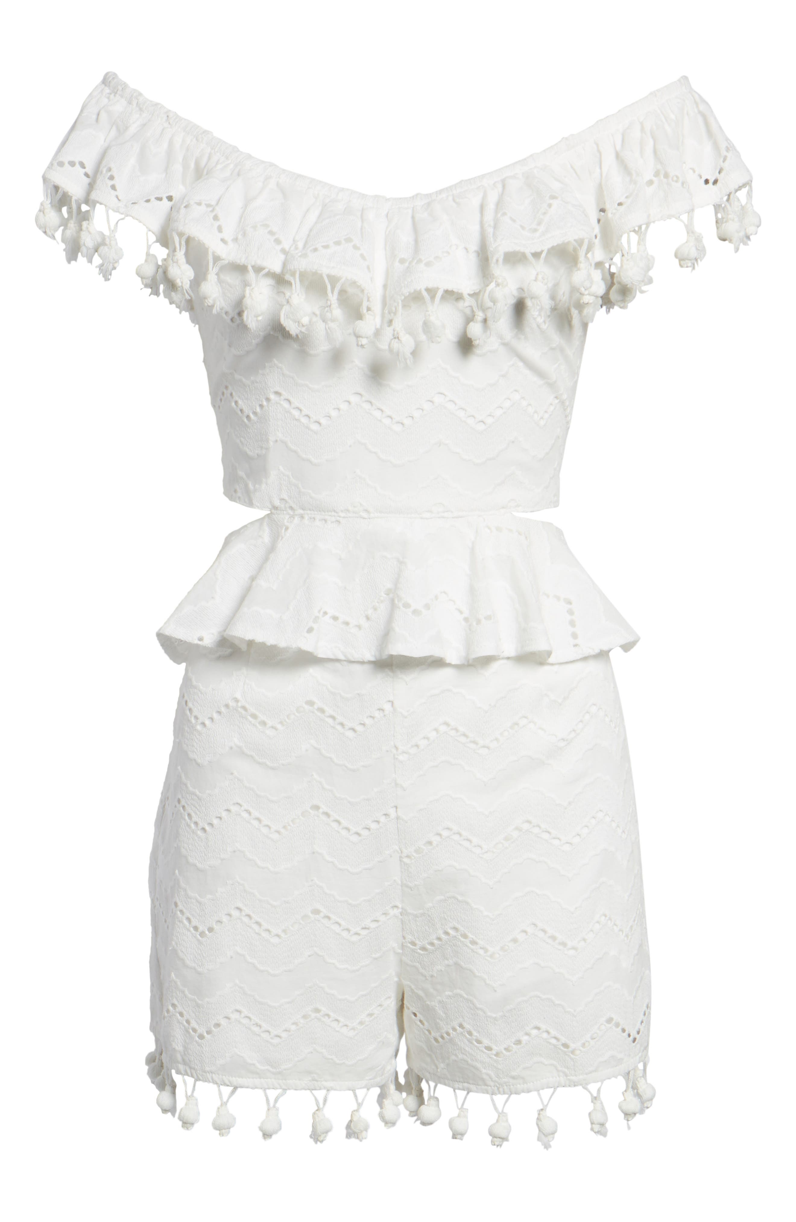 Pompom Cutout Off the Shoulder Romper,                             Alternate thumbnail 7, color,                             White