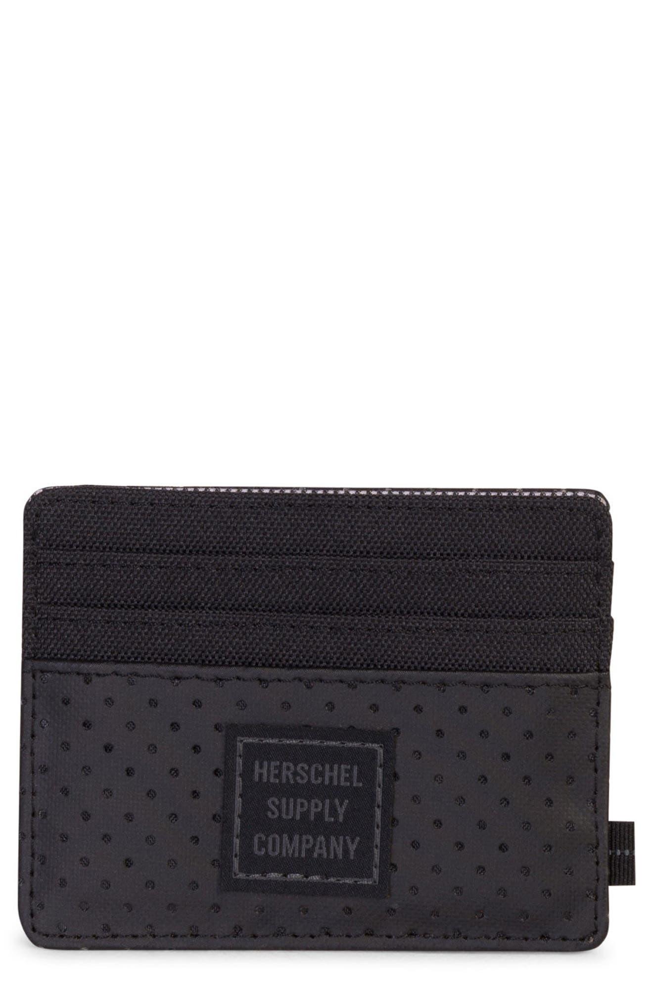 Felix Aspect Perforated Card Case,                         Main,                         color, Black
