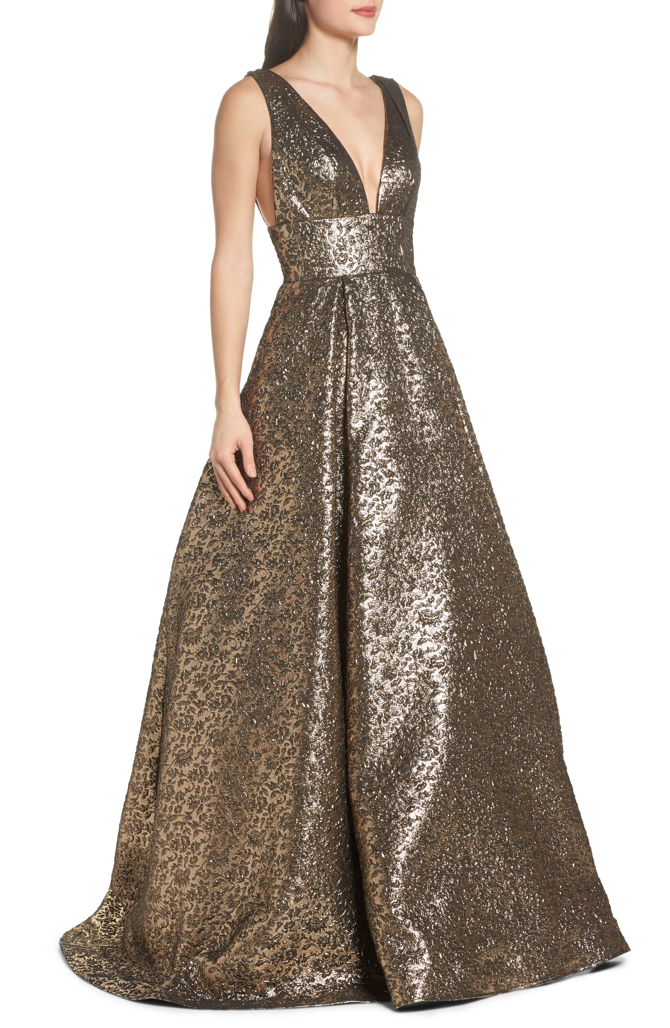 Metallic Jacquard Ballgown,                             Alternate thumbnail 3, color,                             Antique Gold