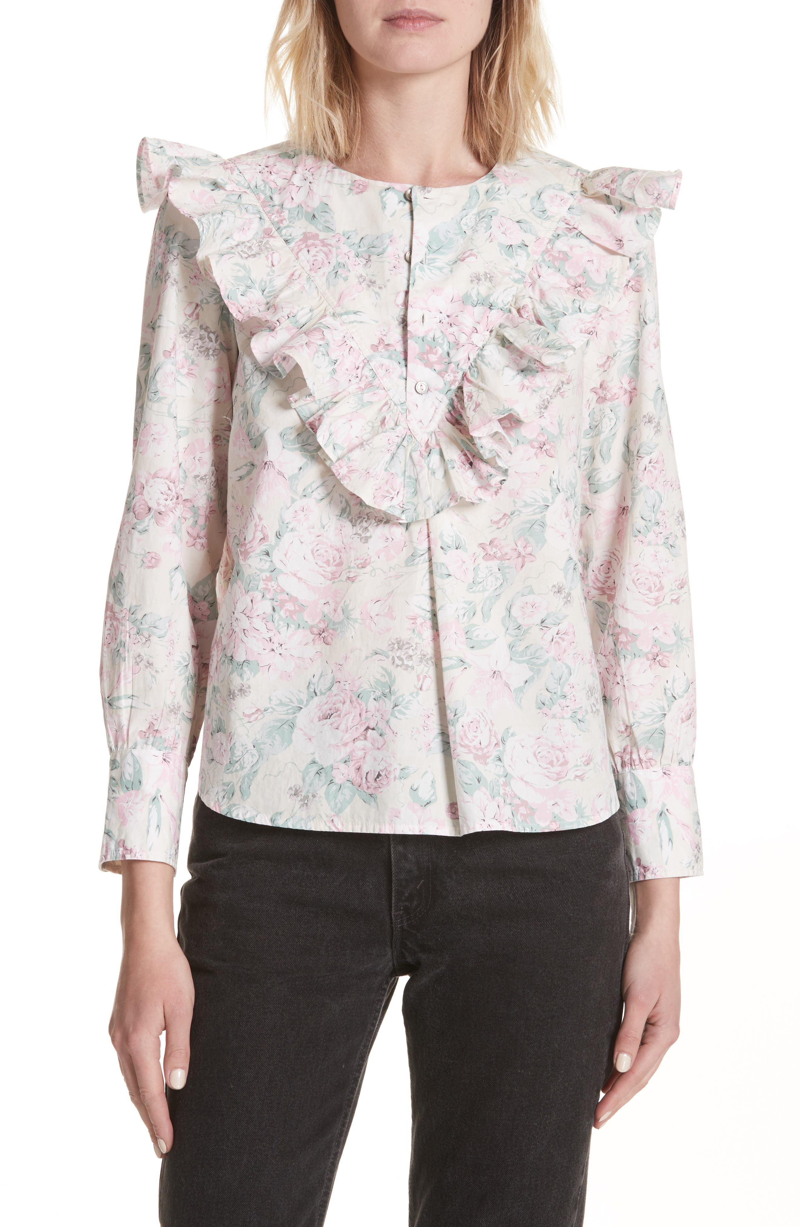 Rose Garden Top,                             Main thumbnail 1, color,                             Multi