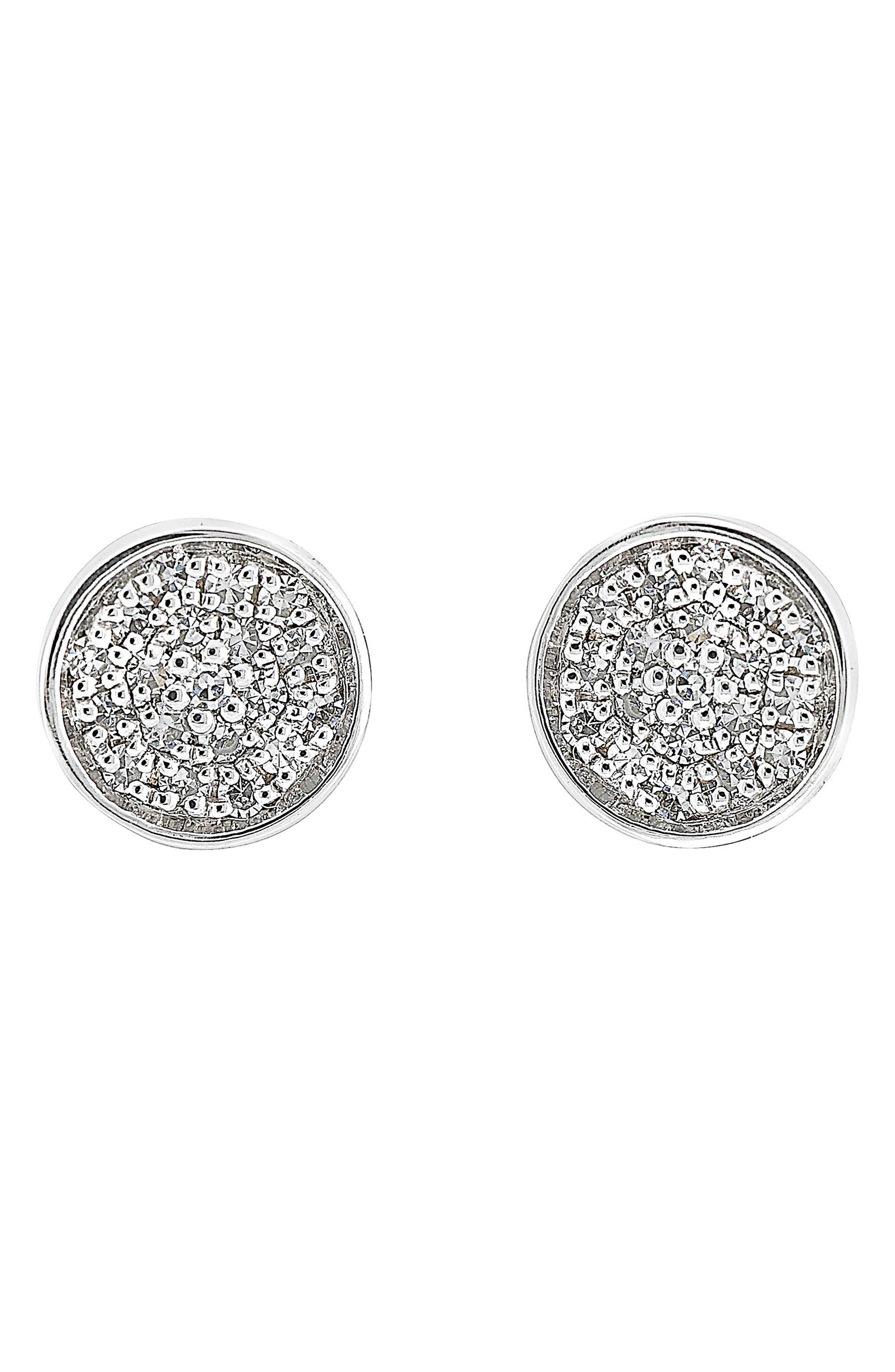 Carrière Pavé Disc Stud Earrings,                         Main,                         color, Silver/ Diamond