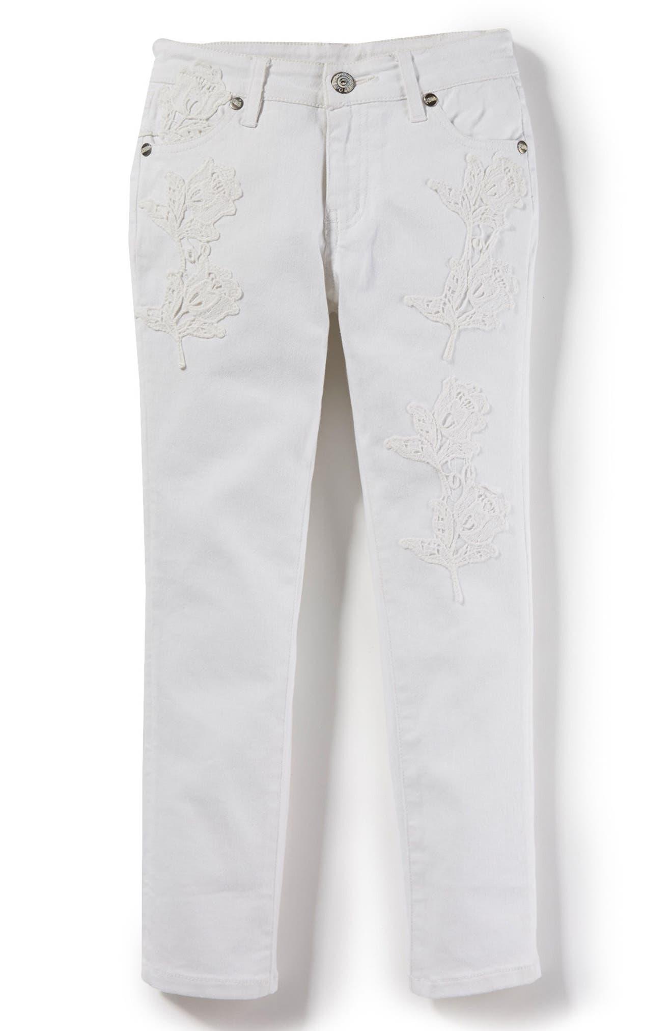 Audrey Crochet Skinny Jeans,                         Main,                         color, White