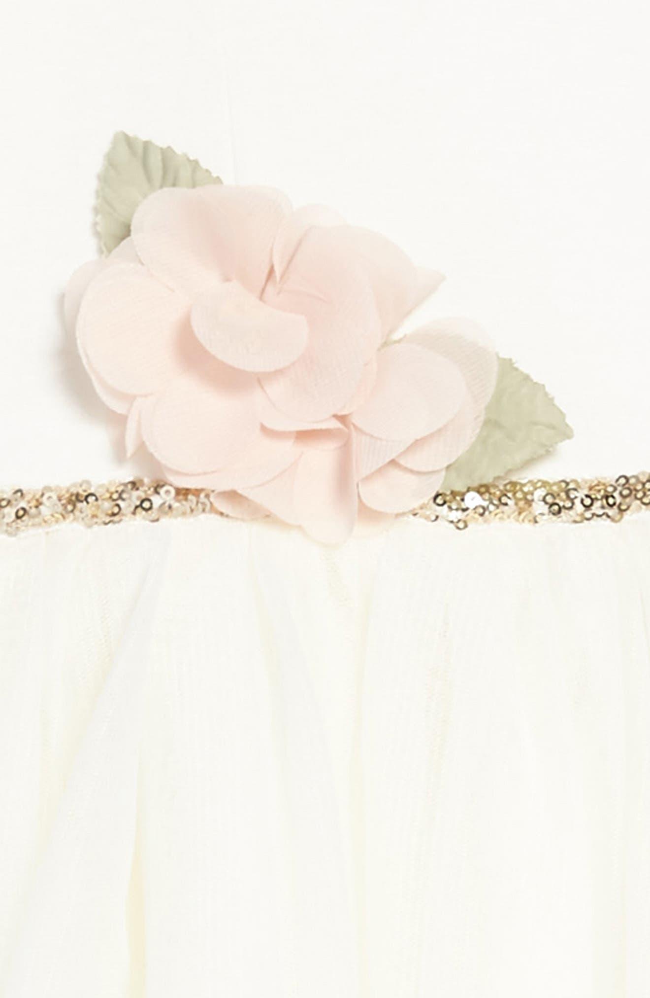 Embellished Ponte & Tulle Dress,                             Alternate thumbnail 3, color,                             Ivory