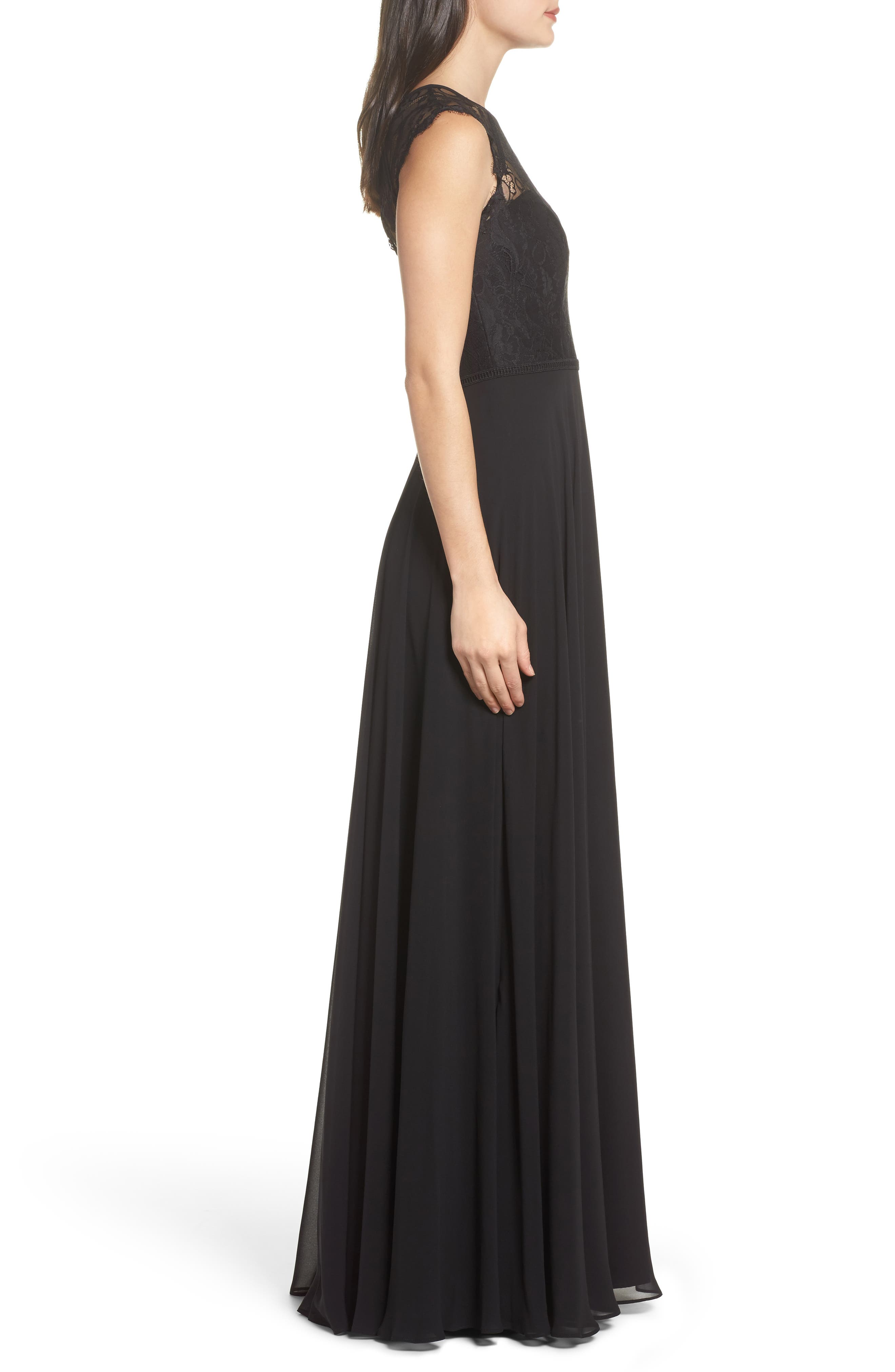 Alternate Image 3  - Hayley Paige Occasions Lace & Chiffon Gown