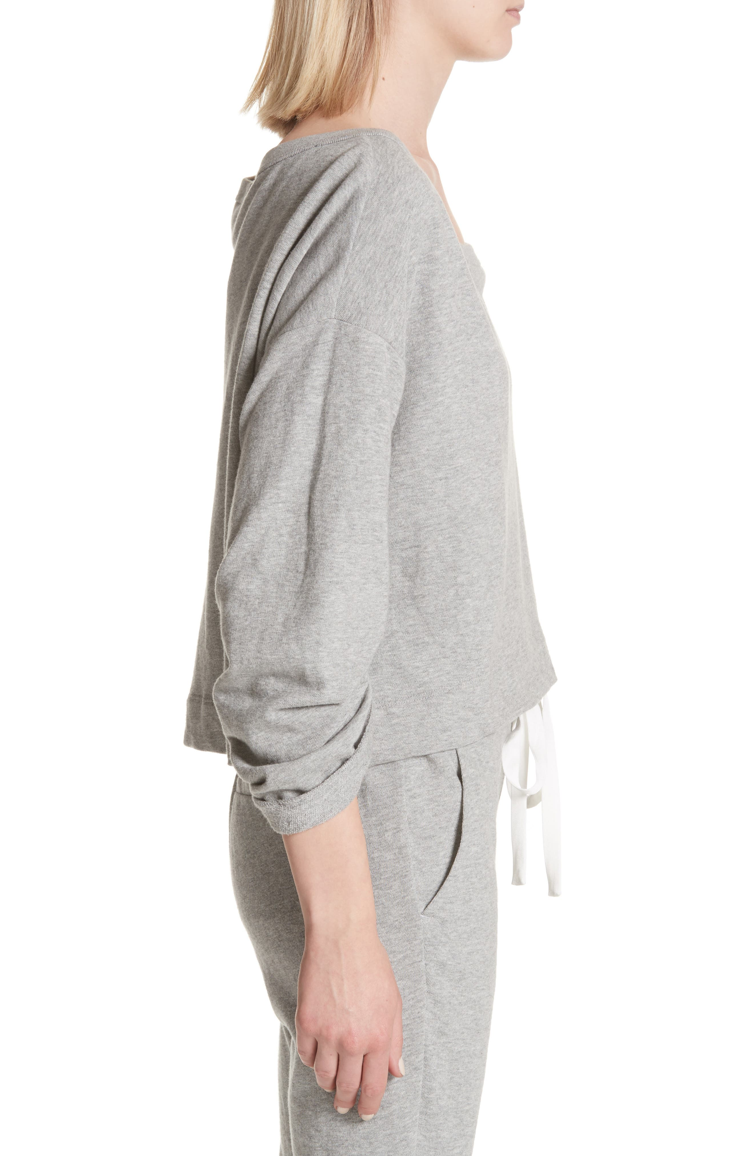 Ember Ruched Sleeve Sweatshirt,                             Alternate thumbnail 3, color,                             Heather Grey