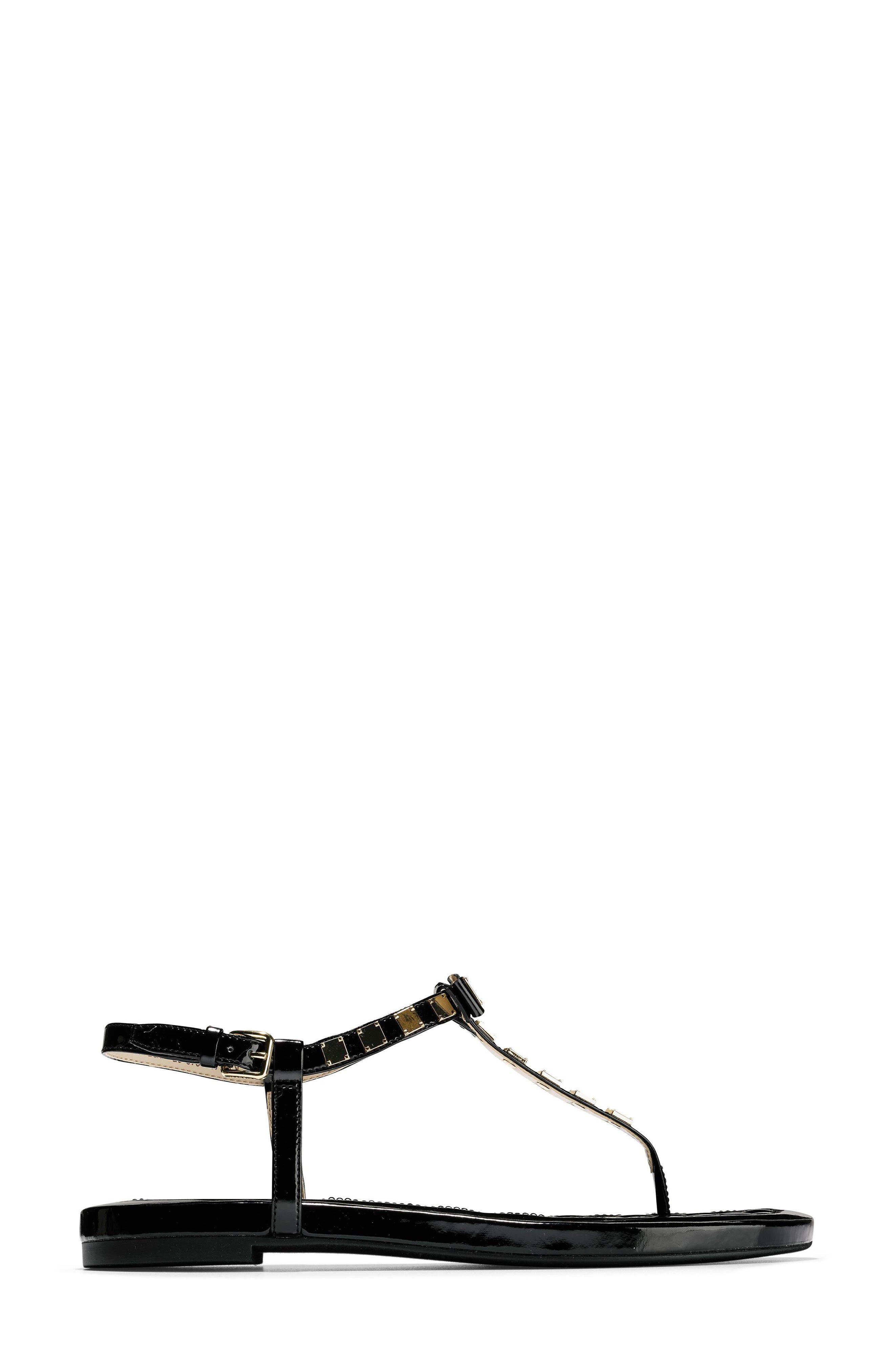 Tali Mini Bow Sandal,                             Alternate thumbnail 3, color,                             Black Patent