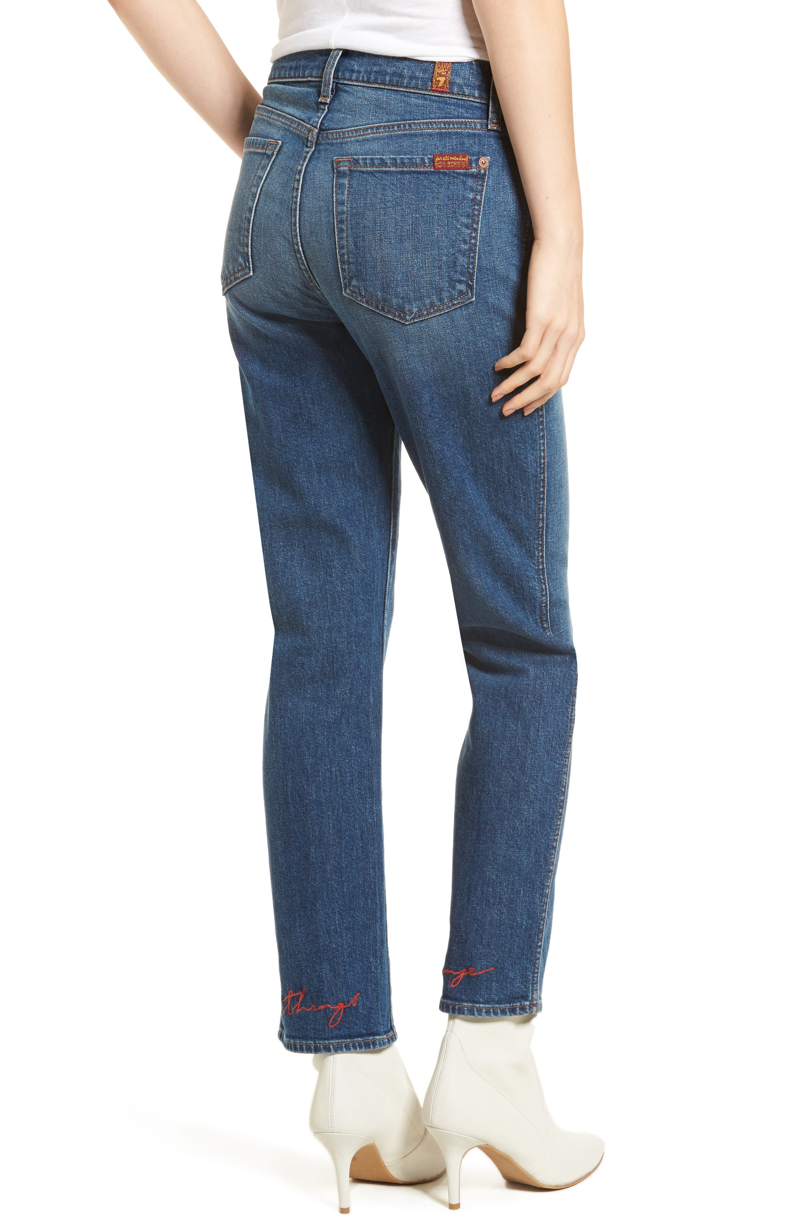 Edie High Waist Crop Straight Leg Jeans,                             Alternate thumbnail 2, color,                             Montreal W/ Embroidery