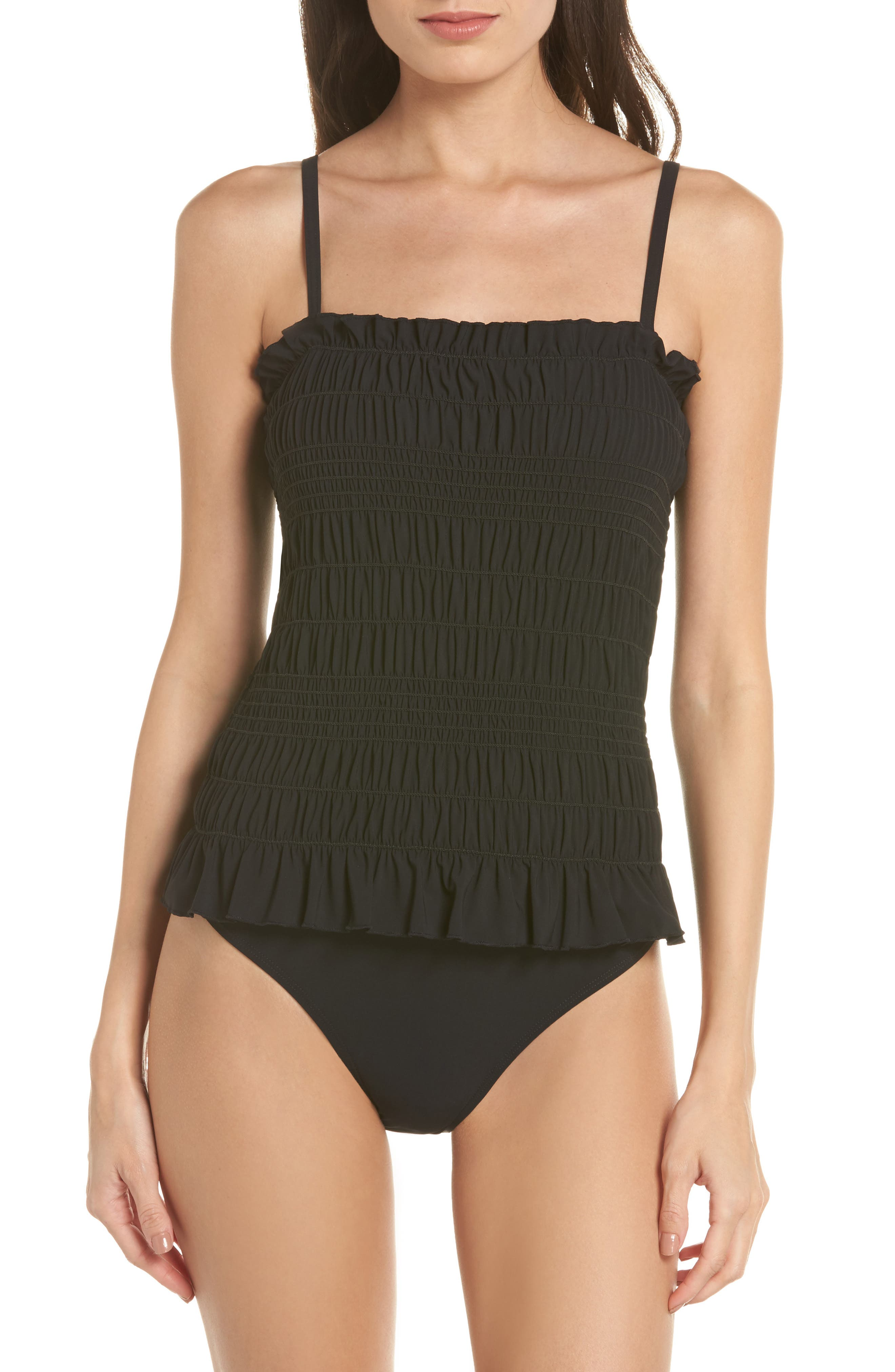 Costa Smocked One-Piece Swimsuit,                             Alternate thumbnail 2, color,                             Black / Black