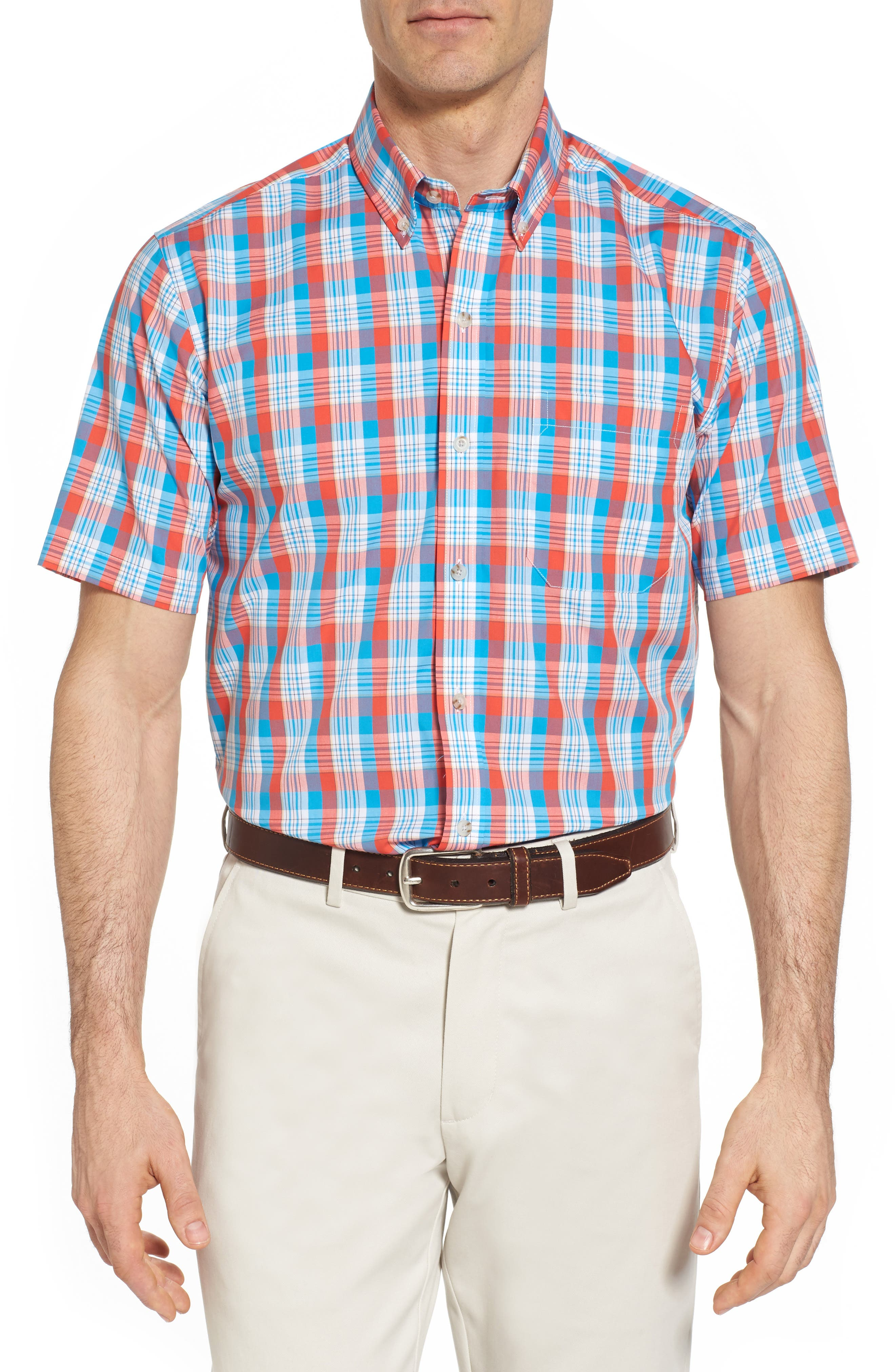 Martin Classic Fit Non-Iron Plaid Sport Shirt,                         Main,                         color, Tangelo