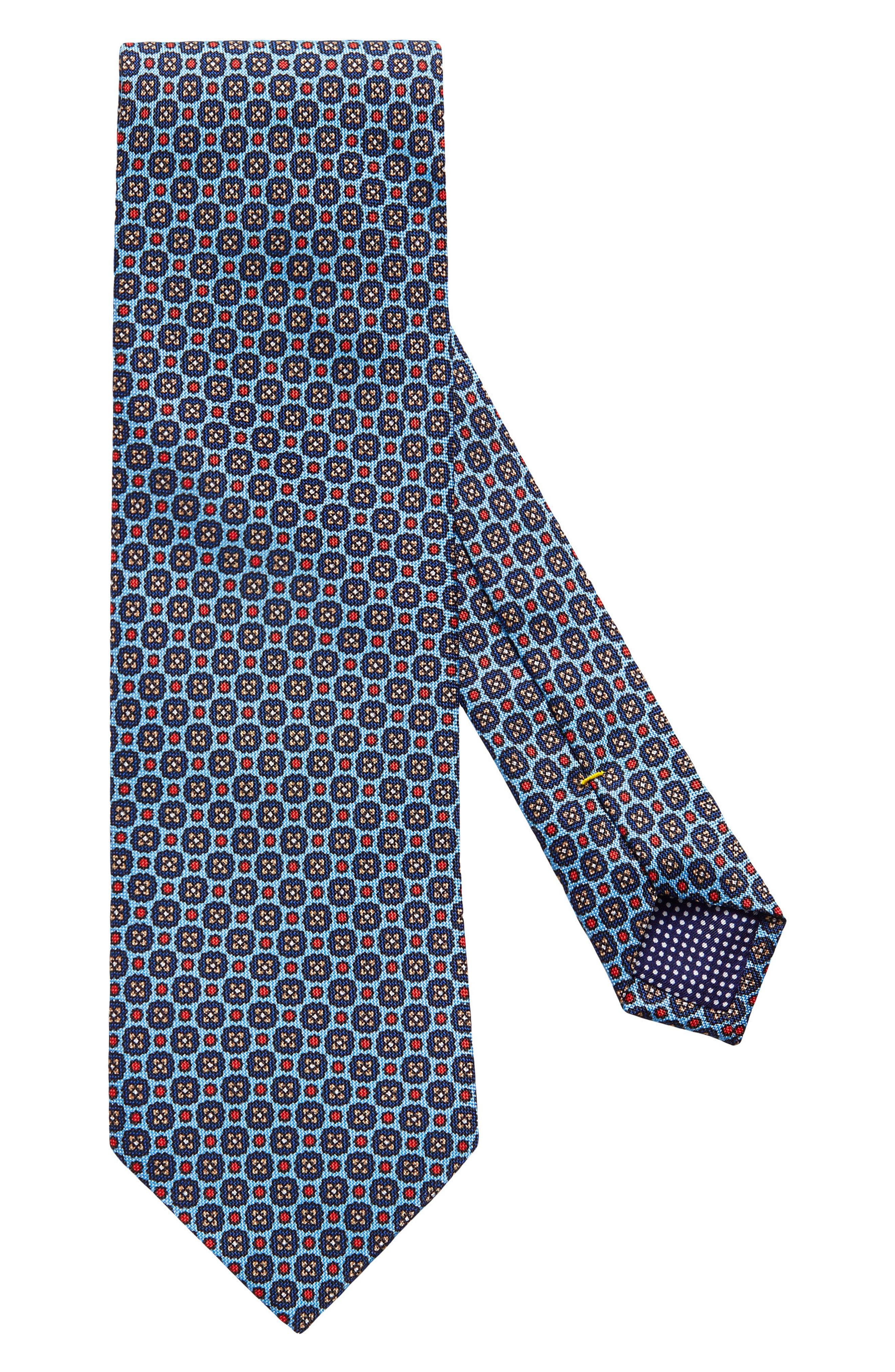 Medallion Silk Tie,                             Main thumbnail 1, color,                             Blue