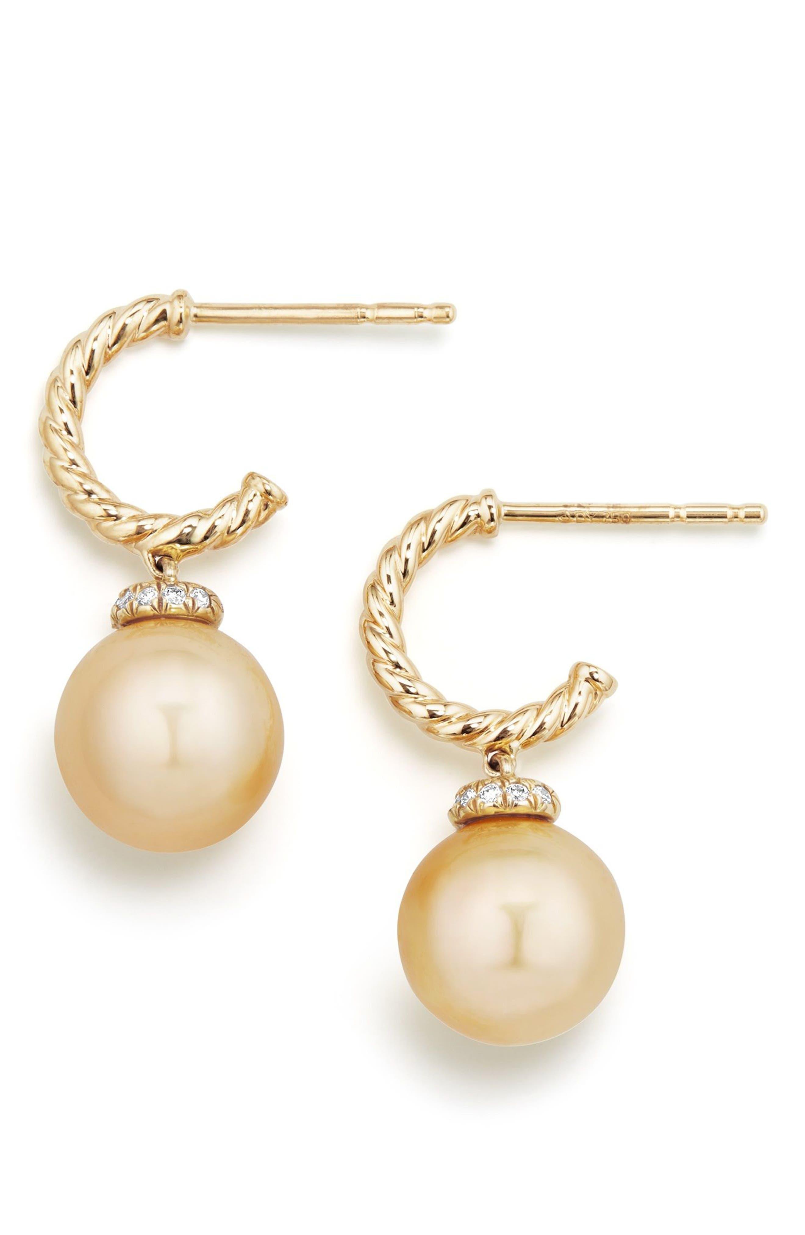 Solari Hoop Earrings with Diamonds and Genuine Pearl,                             Alternate thumbnail 2, color,                             Gold/ Diamond/ Yellow Pearl