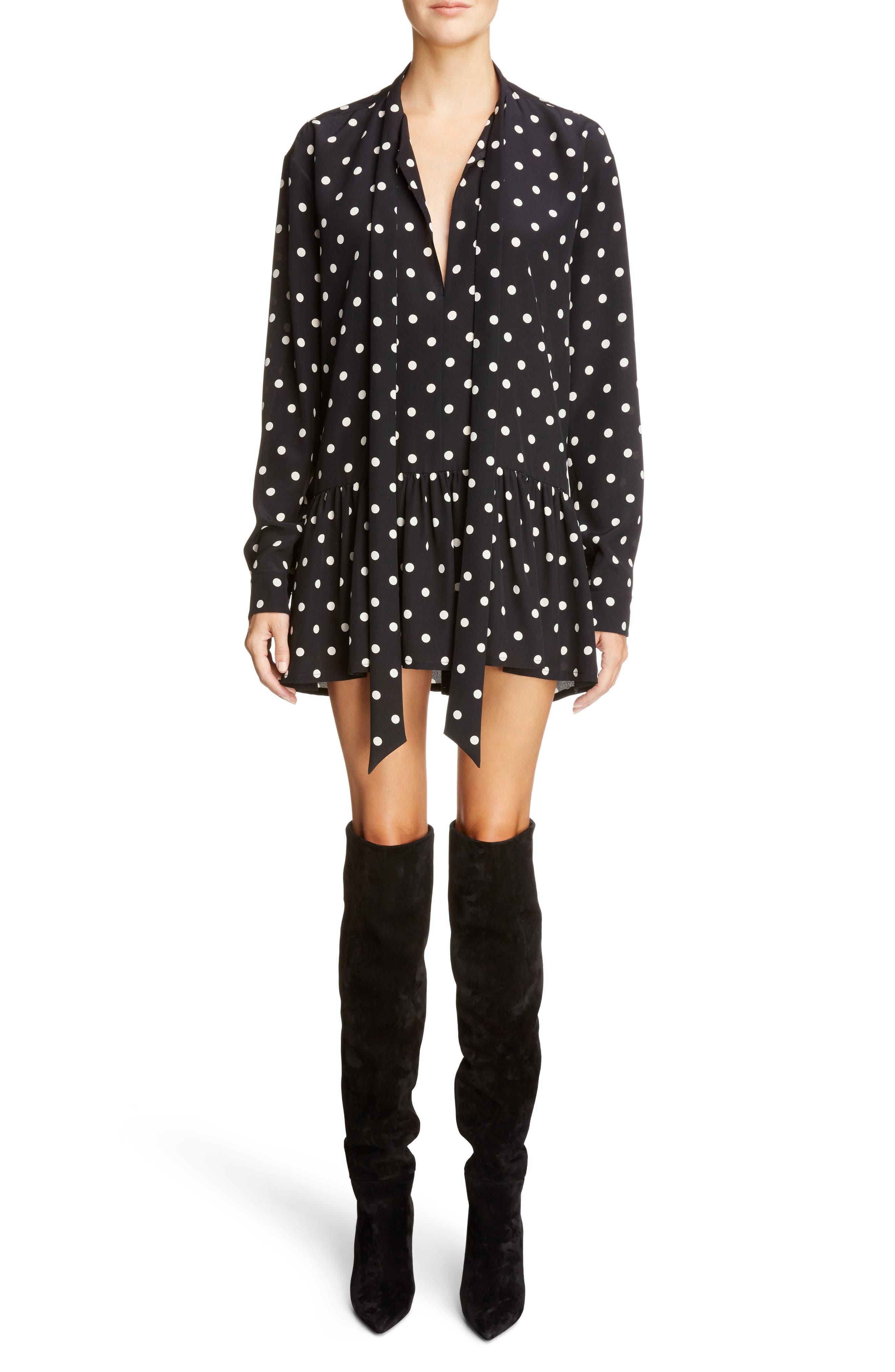 Drop Waist Polka Dot Silk Dress,                         Main,                         color, Noir/ Off White