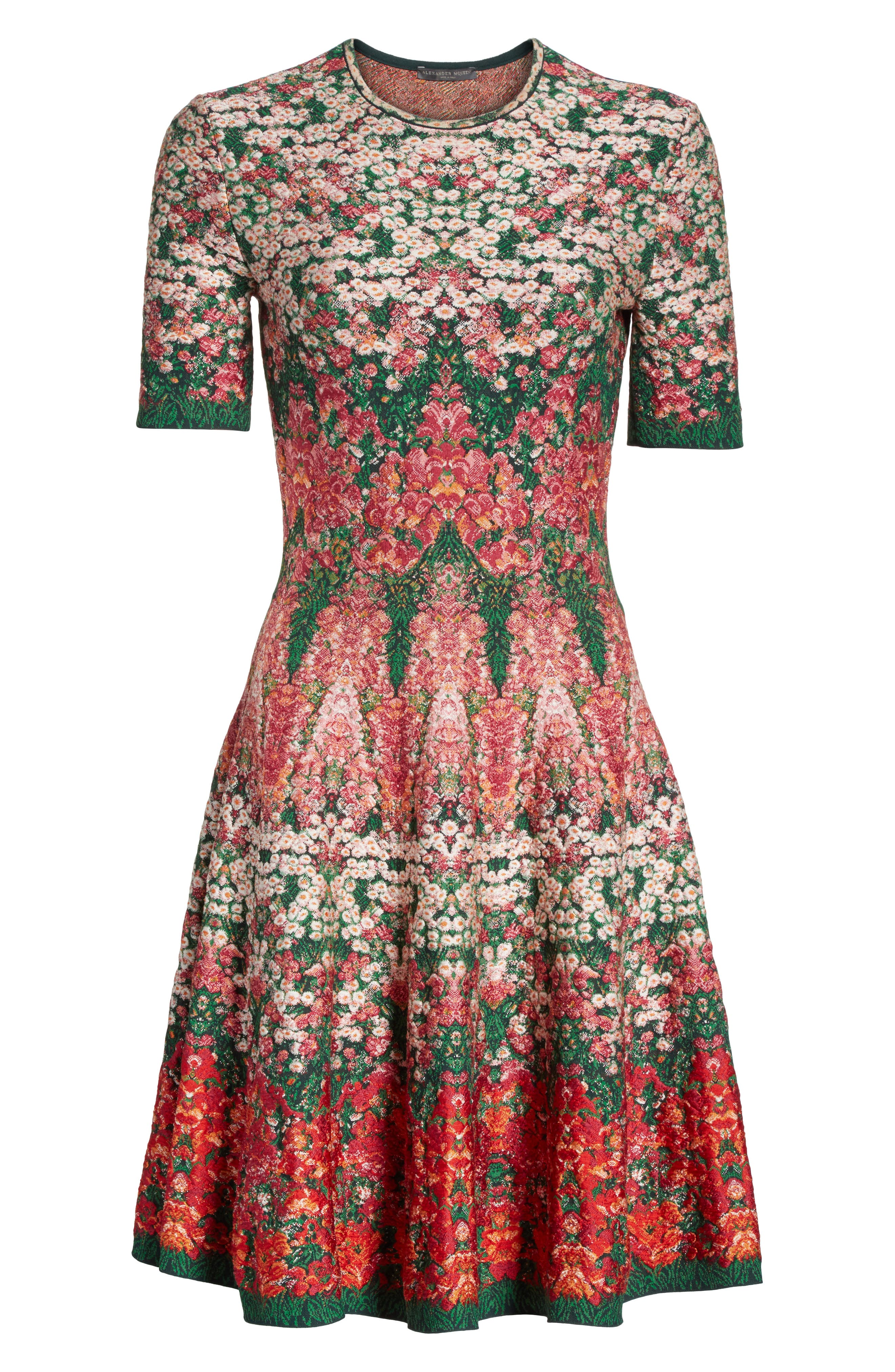 Floral Jacquard Knit Fit & Flare Dress,                             Alternate thumbnail 6, color,                             Multicolor