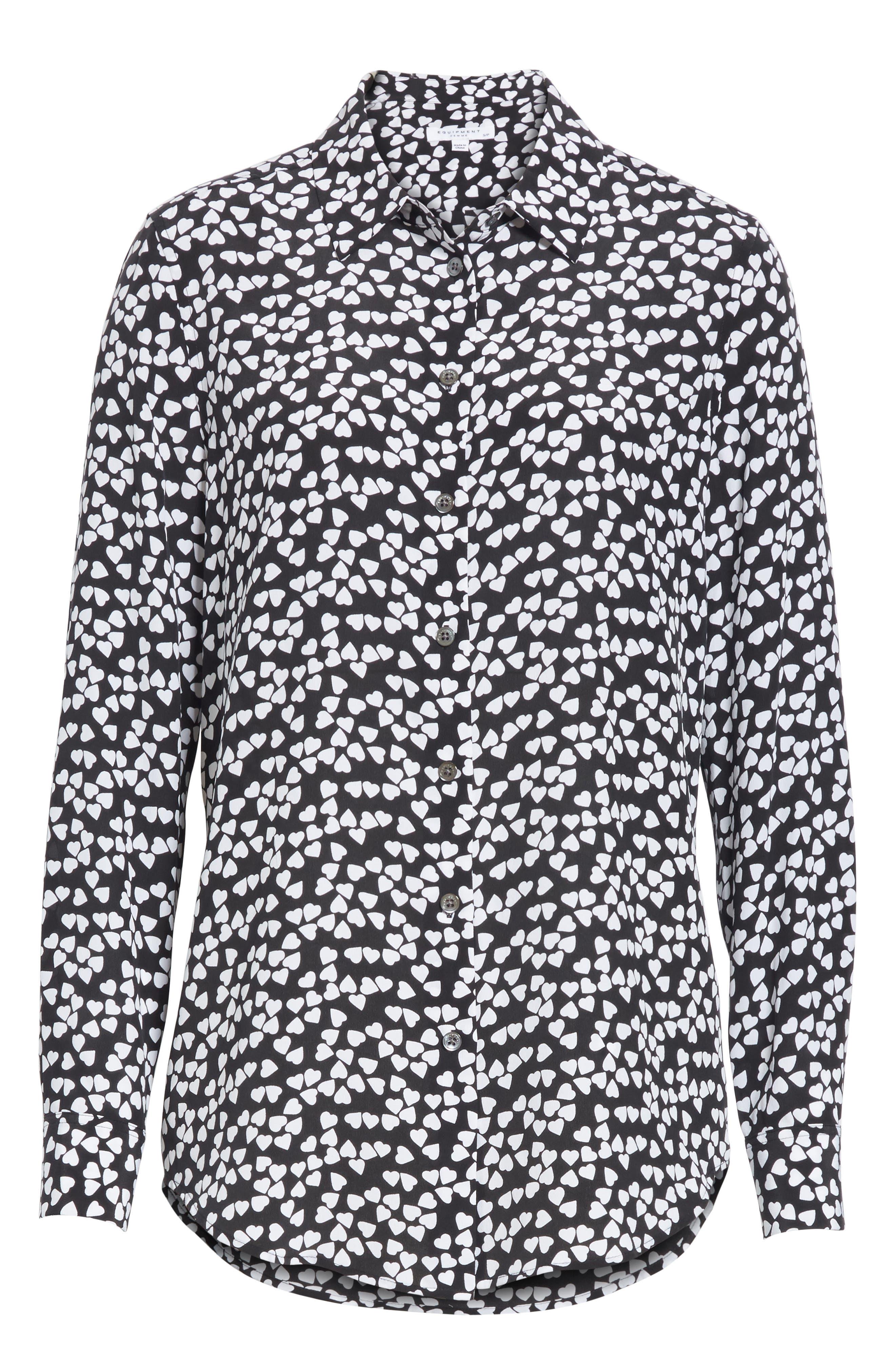 Essential Heart Print Silk Shirt,                             Alternate thumbnail 6, color,                             True Black-Bright White