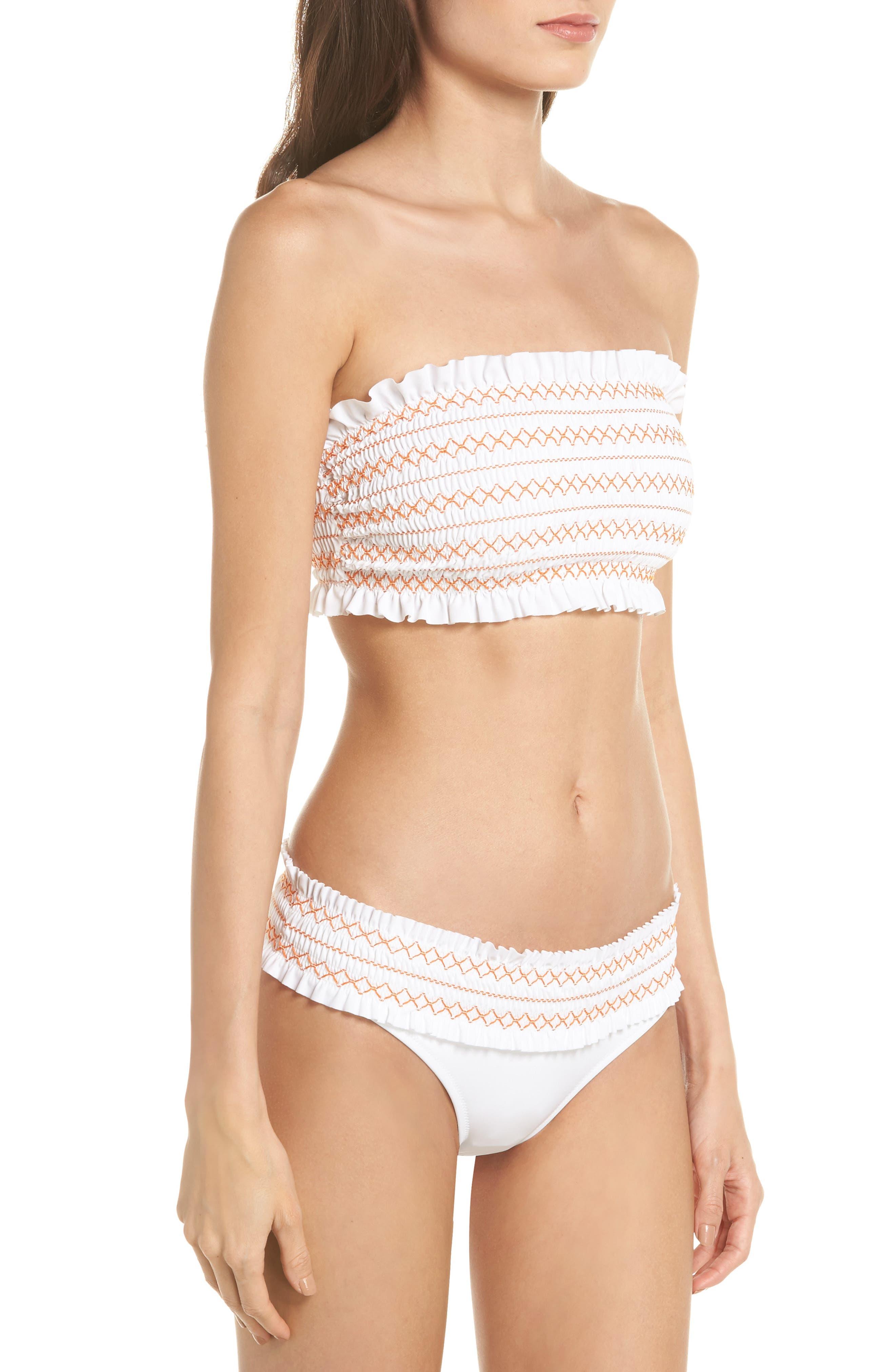 Alternate Image 7  - Tory Burch Costa Smocked Hipster Bikini Bottoms