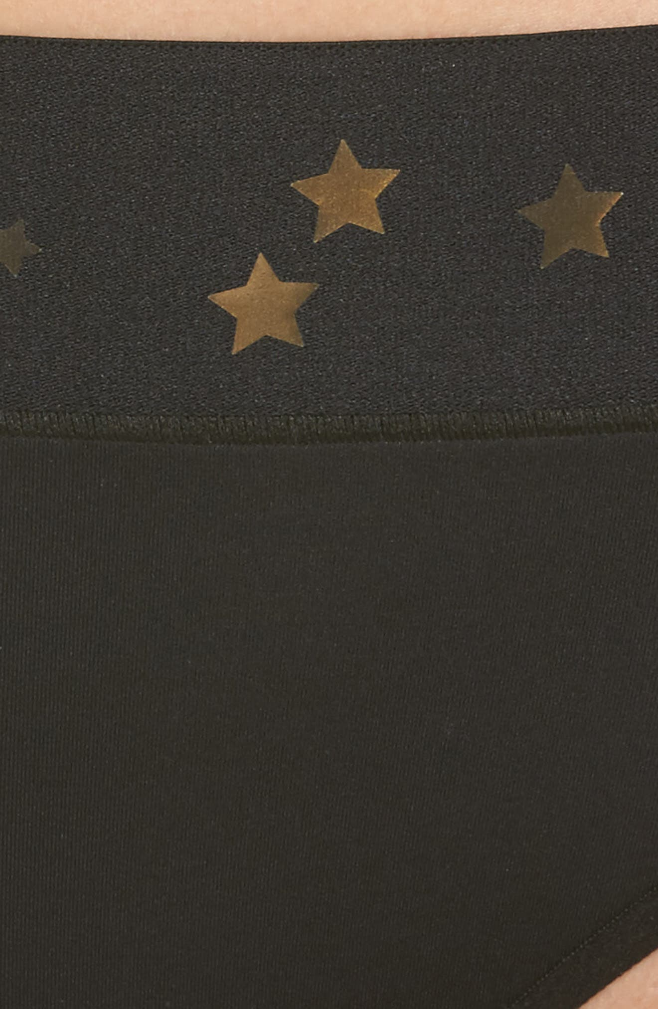 Argon Stellar High Waist Bikini Bottoms,                             Alternate thumbnail 8, color,                             Nero/ Iridecsent Gold
