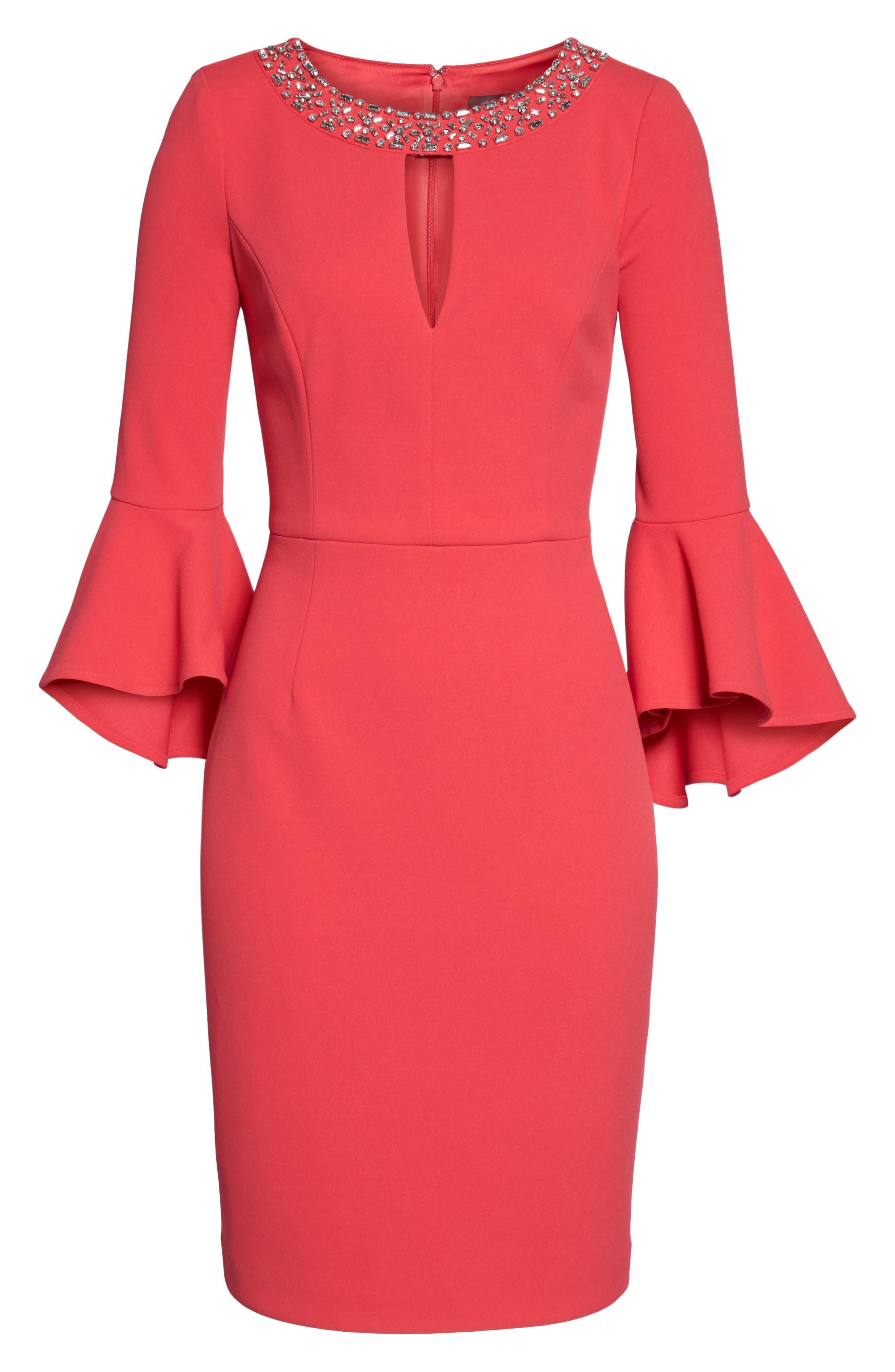 Embellished Bell Sleeve Sheath Dress,                             Alternate thumbnail 6, color,                             Berry