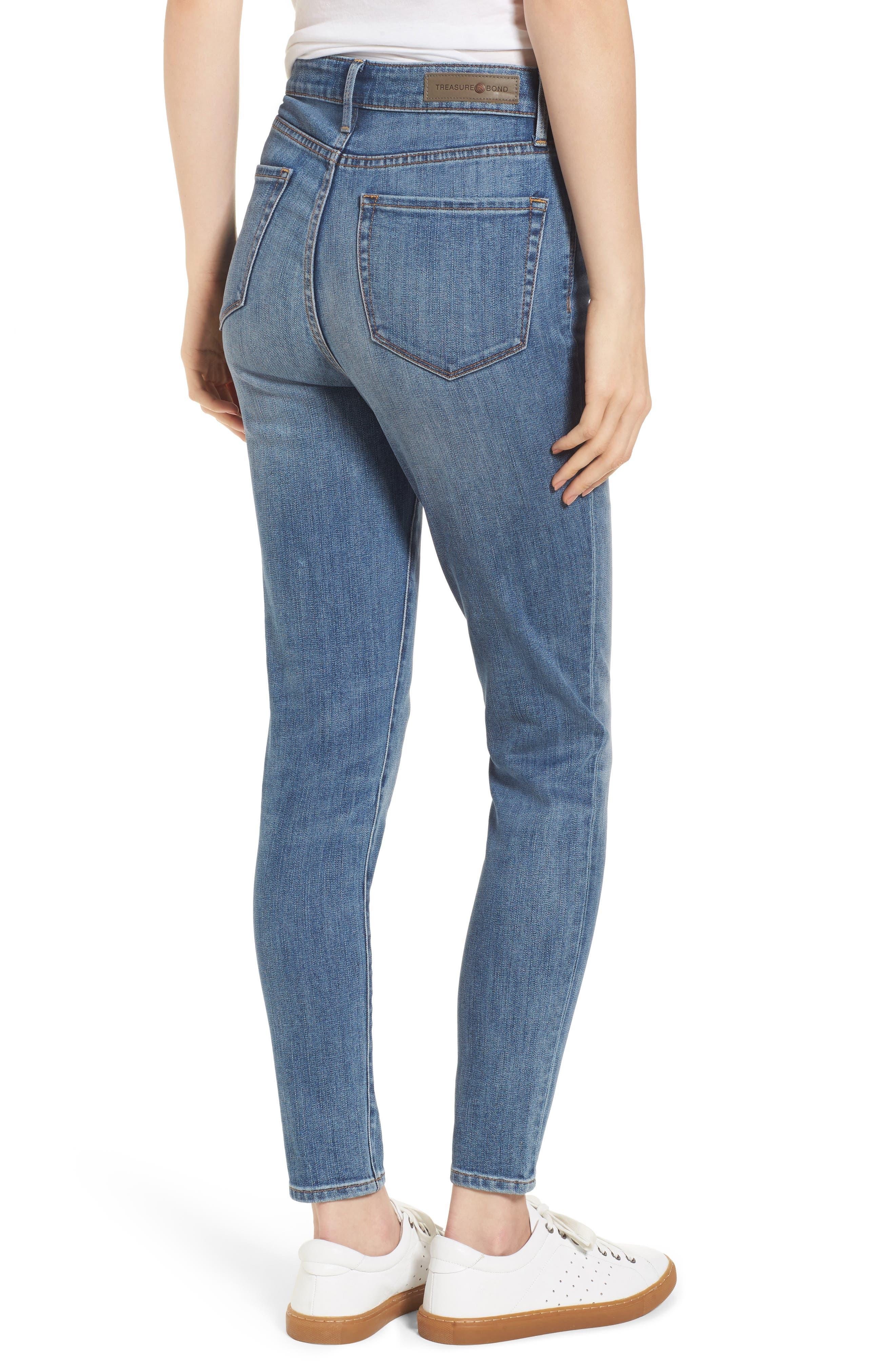 Charity High Waist Skinny Ankle Jeans,                             Alternate thumbnail 3, color,                             Rain Dusk Worn