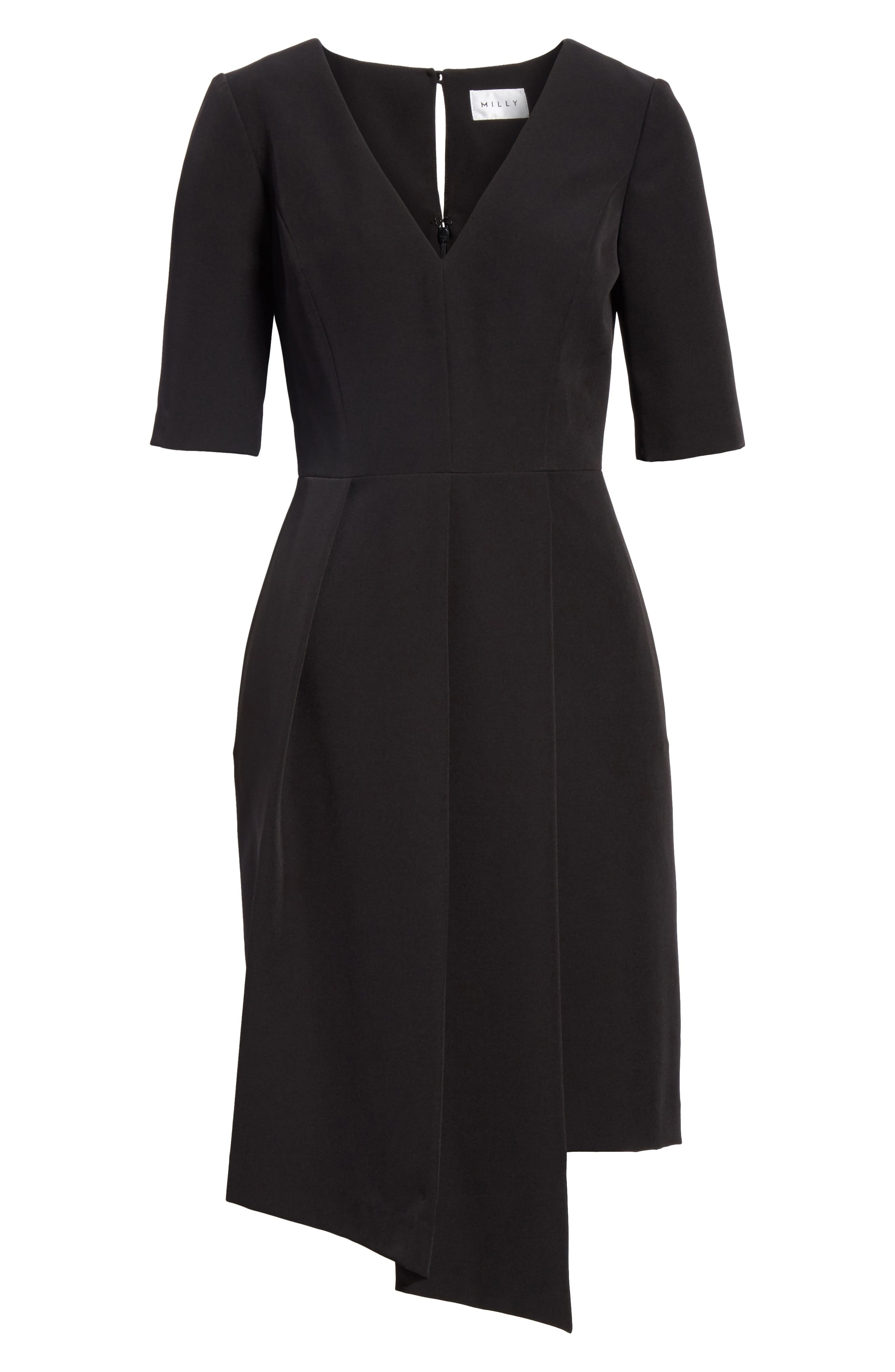 Asymmetrical Sheath Dress,                             Alternate thumbnail 6, color,                             Black