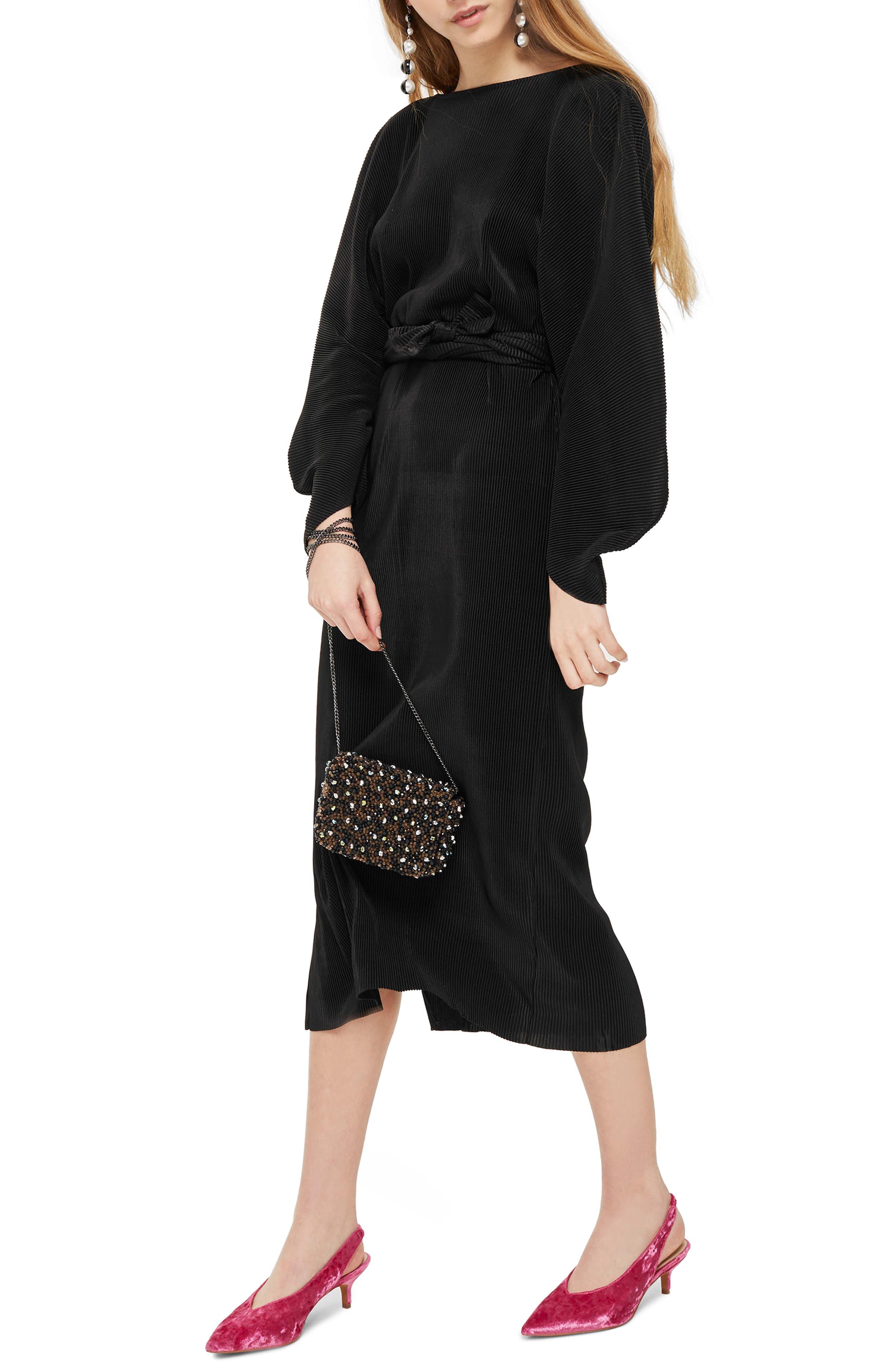 Ovoid Plissé Midi Dress,                         Main,                         color, Black