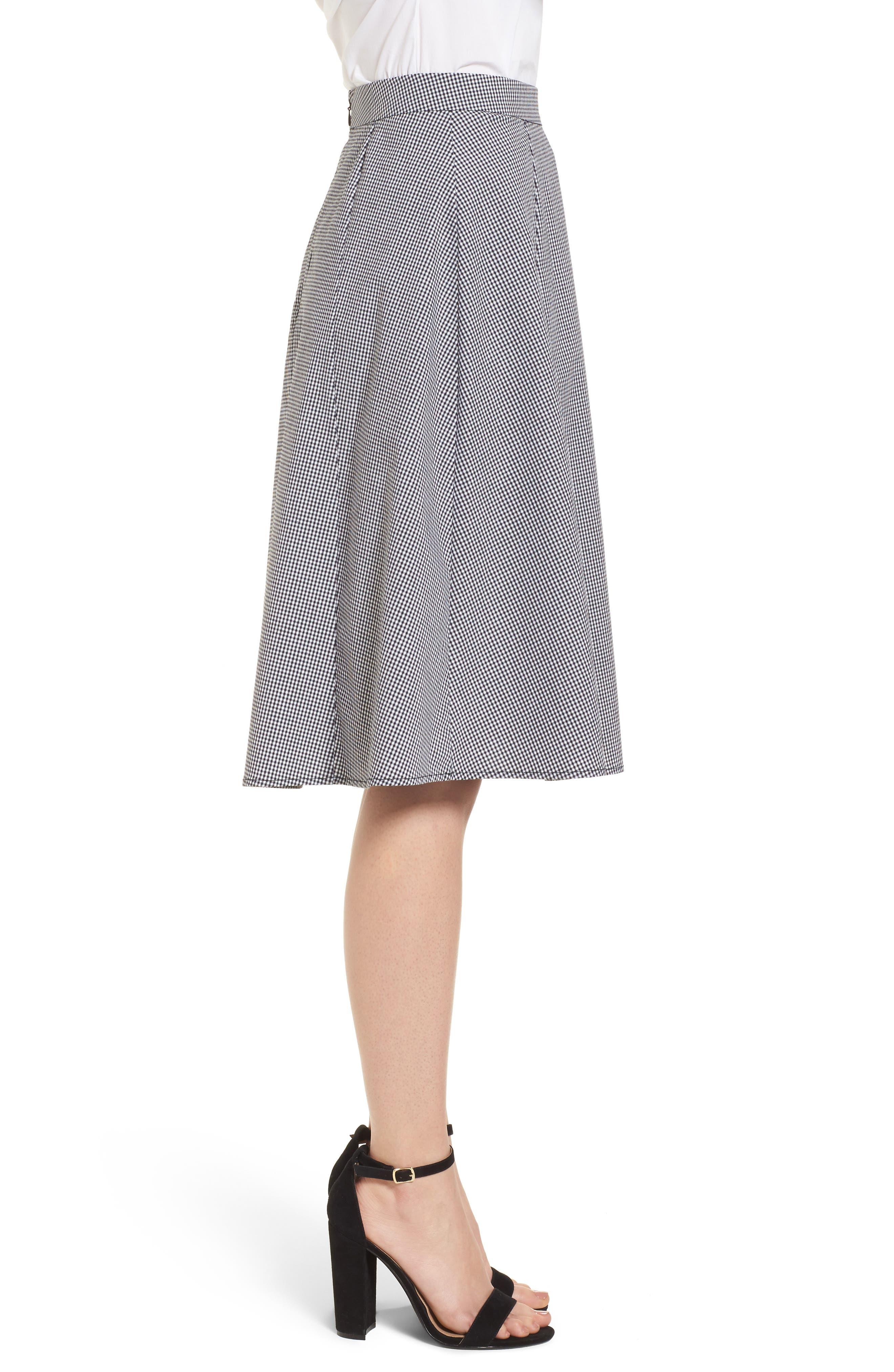 Gingham A-Line Skirt,                             Alternate thumbnail 3, color,                             Black/ White