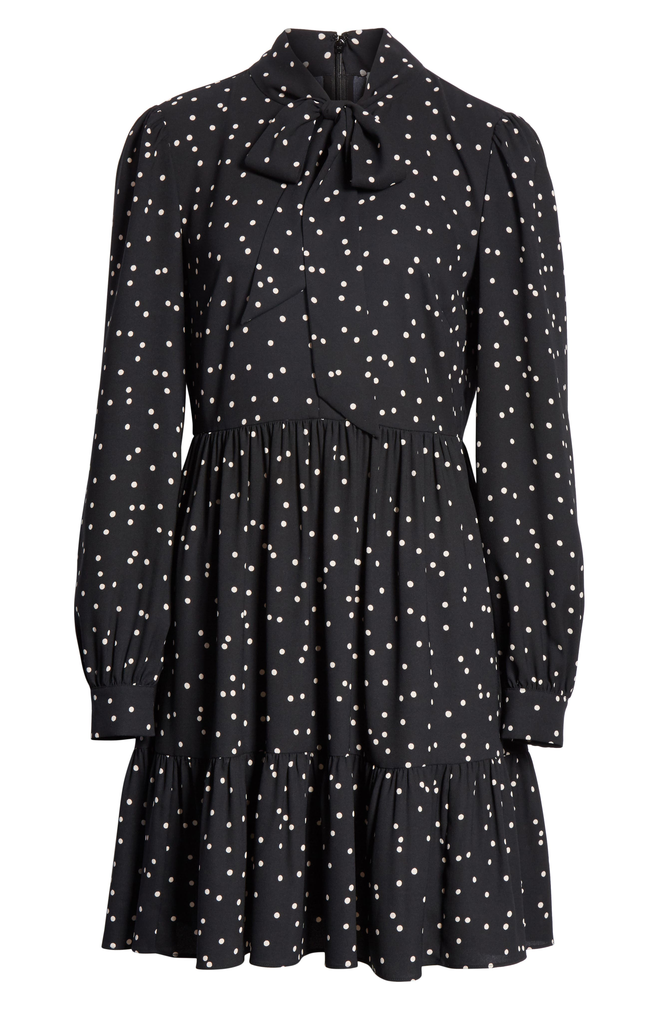 scatter dot shirtdress,                             Alternate thumbnail 6, color,                             Black