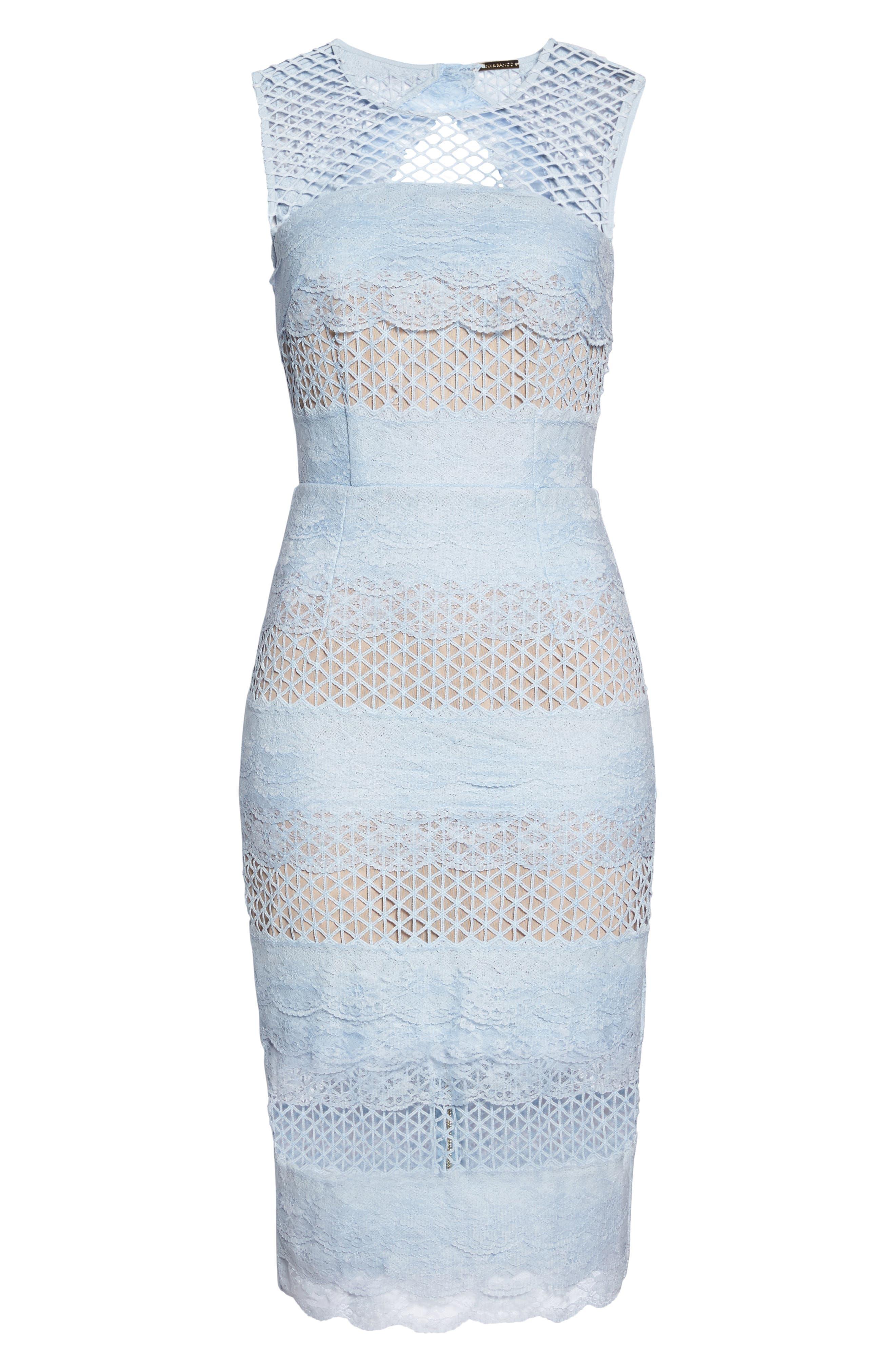 Sienna Lace Panel Sheath Dress,                             Alternate thumbnail 10, color,                             Sky
