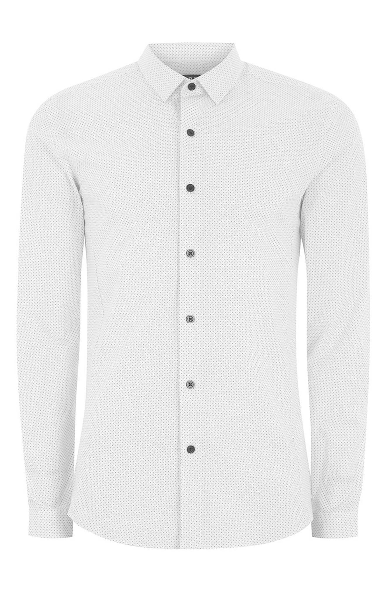 Muscle Fit Polka Dot Sport Shirt,                             Alternate thumbnail 4, color,                             White Multi
