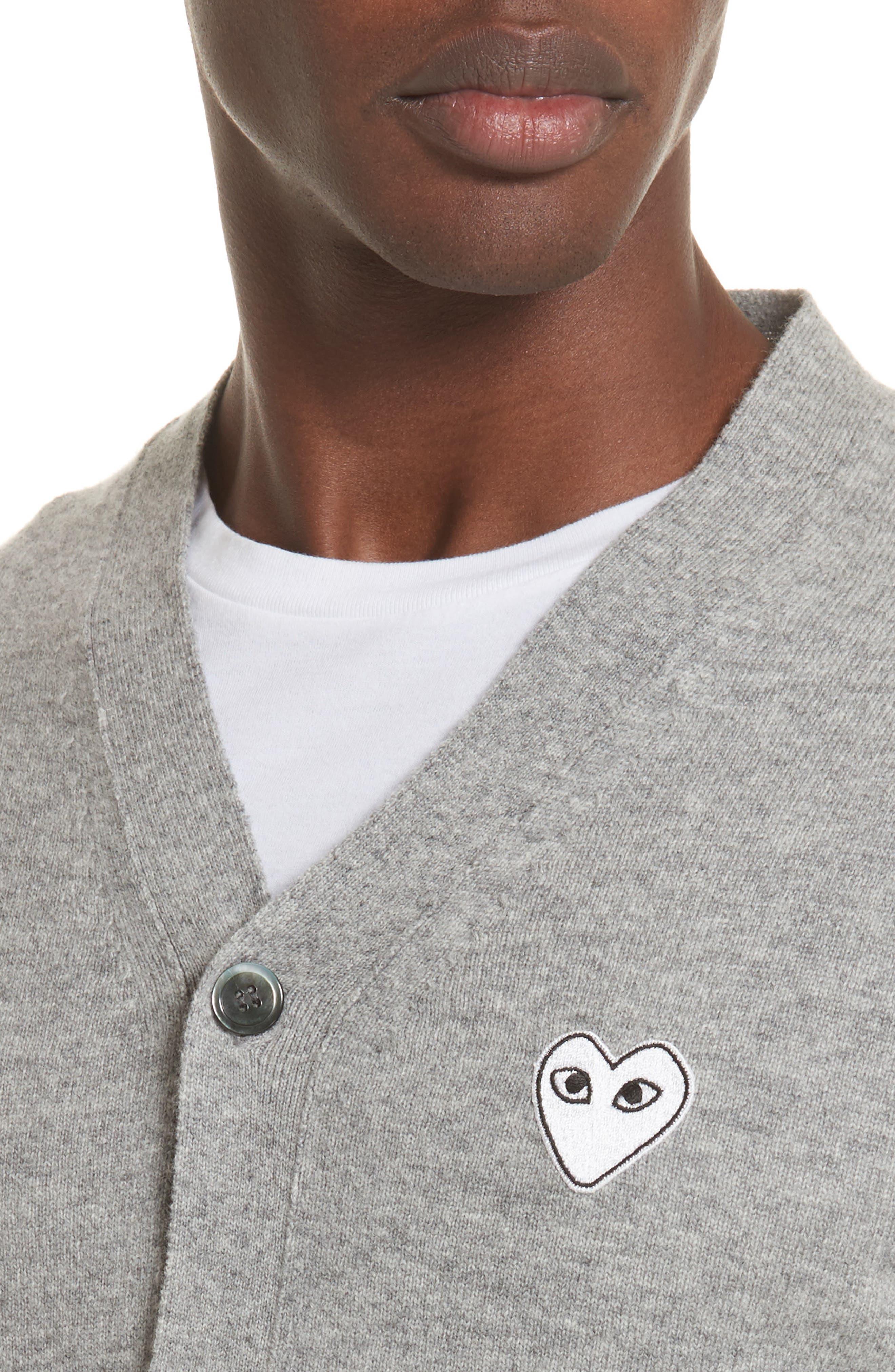 White Heart Wool Cardigan,                             Alternate thumbnail 4, color,                             Light Grey