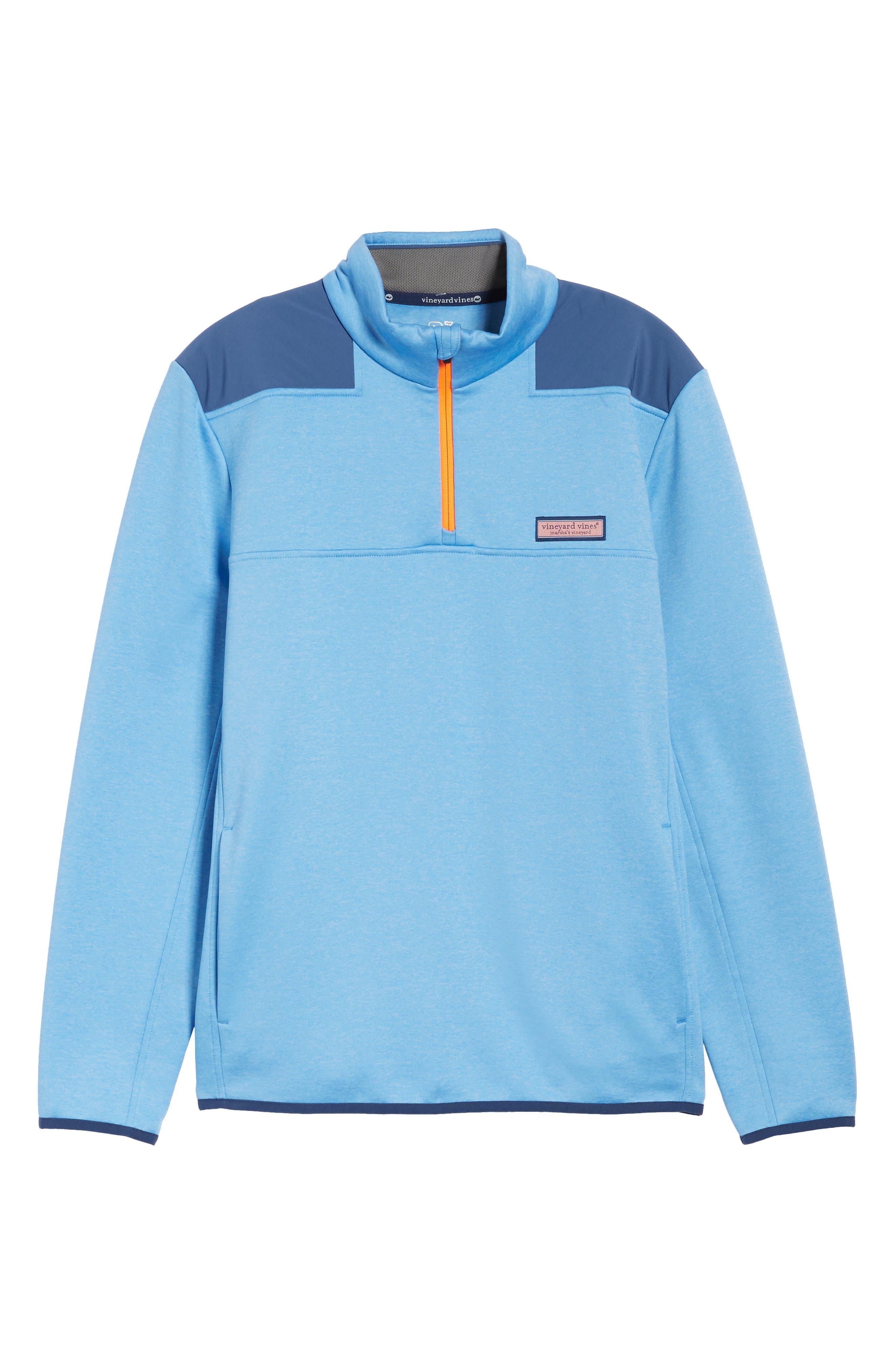 Shep Performance Fleece Quarter Zip Pullover,                             Alternate thumbnail 6, color,                             Ocean Breeze
