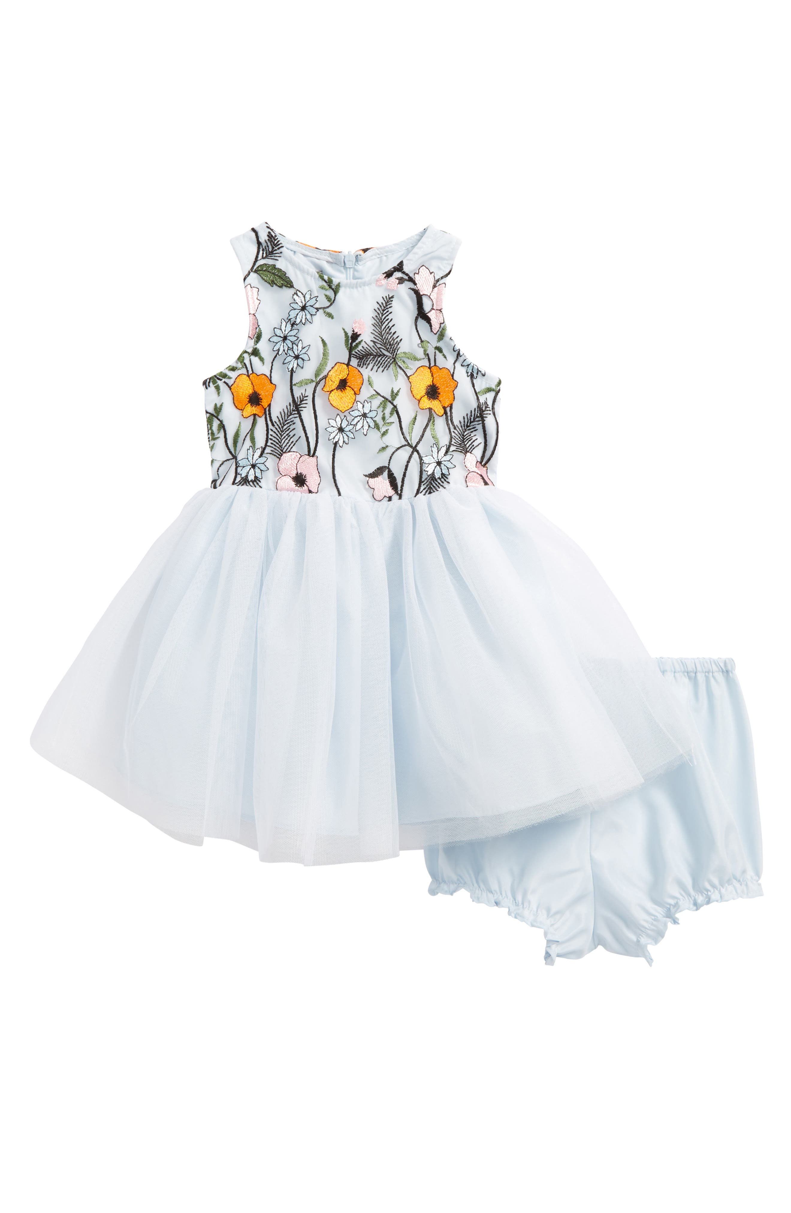 Main Image - Pippa & Julie Embroidered Floral Tulle Dress (Baby Girls)