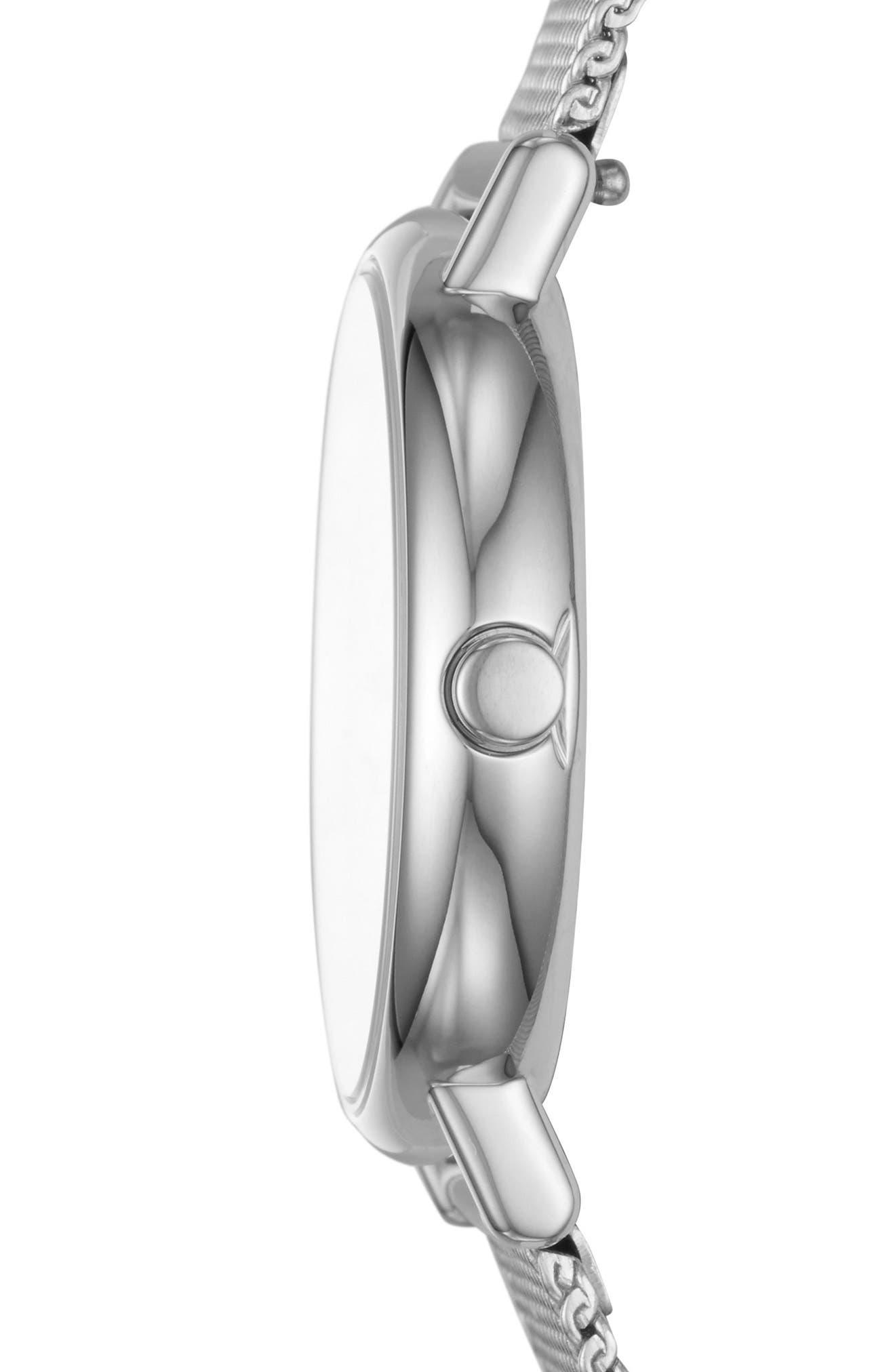 Signatur Slim Mesh Strap Watch, 30mm,                             Alternate thumbnail 2, color,                             Silver/ White/ Silver