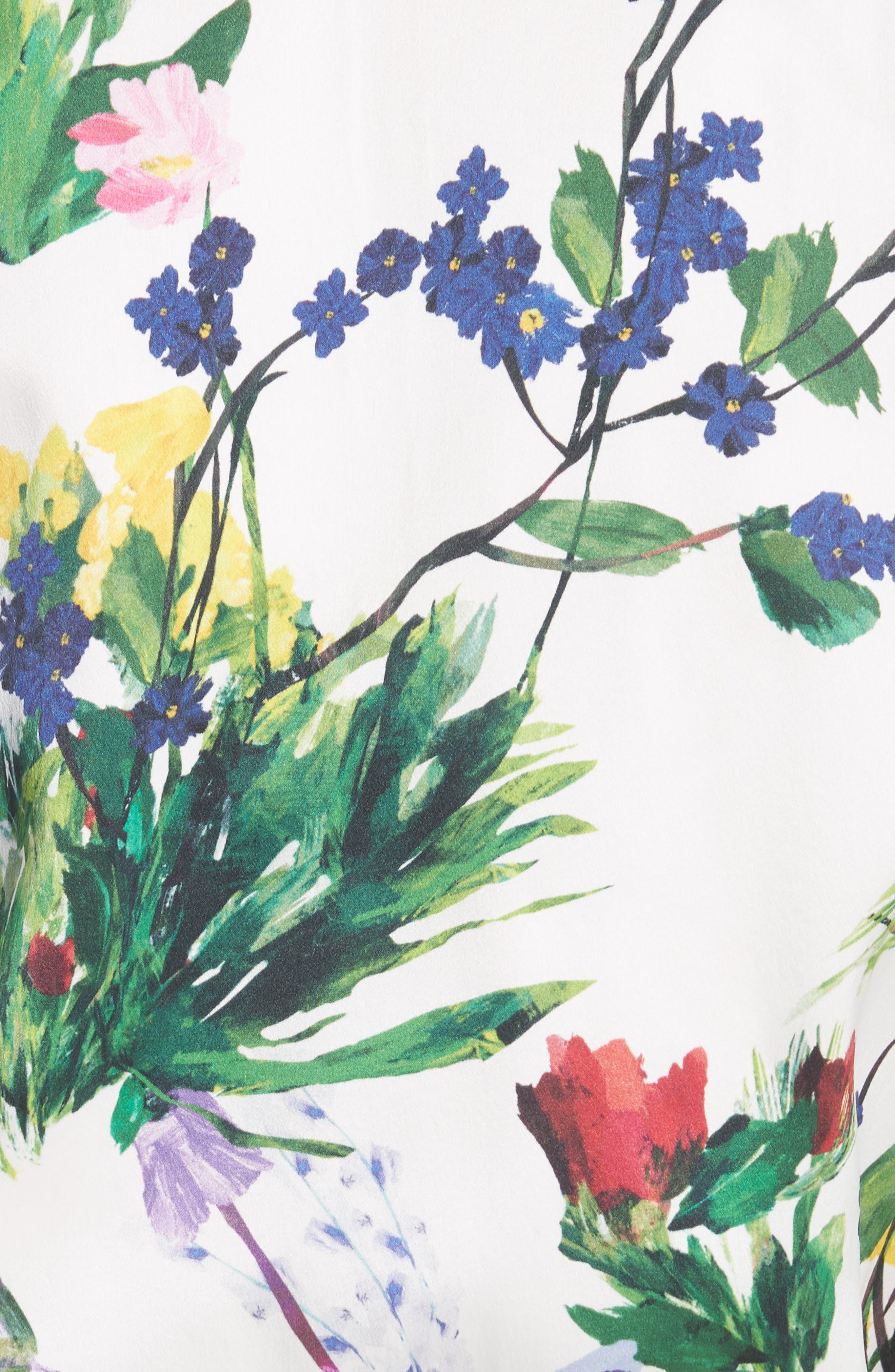 Lonnie Reversible Silk Bomber Jacket,                             Alternate thumbnail 5, color,                             Floral Damask/ Wildflower