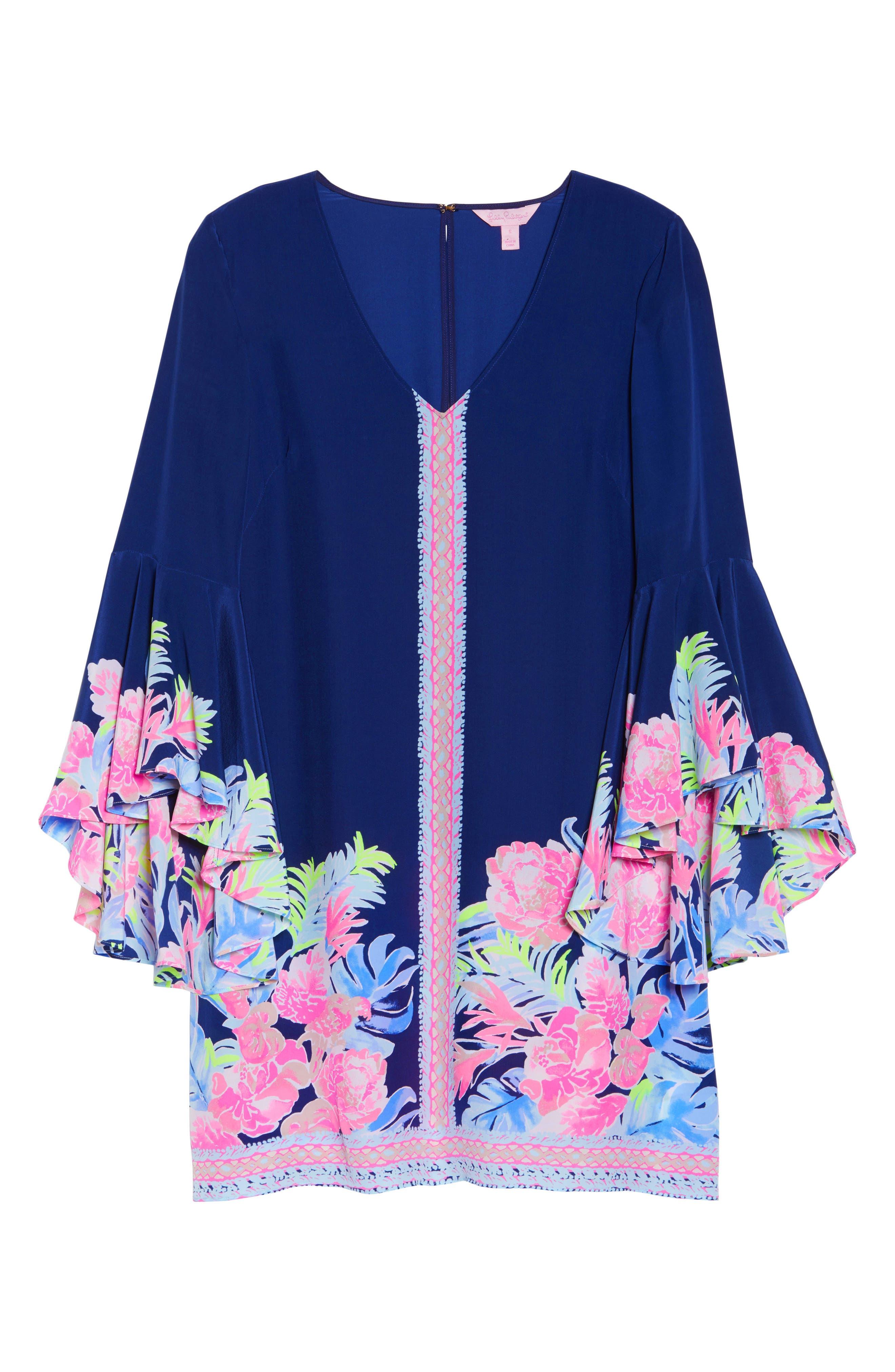 Rosalia Bell Sleeve Silk A-Line Dress,                             Alternate thumbnail 6, color,                             High Tide Tropicolada