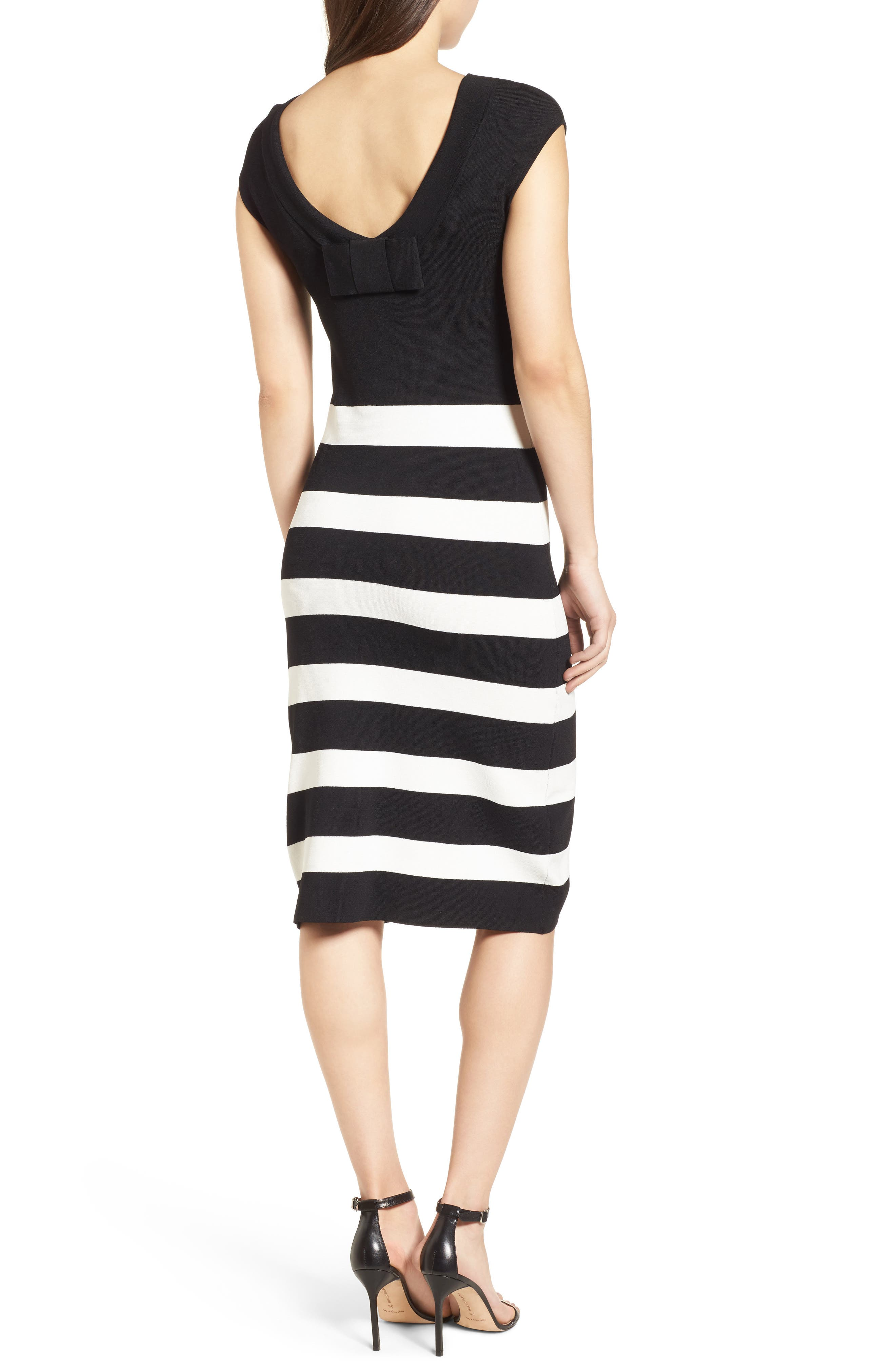 Bow Back Striped Sweater Dress,                             Alternate thumbnail 2, color,                             Black/ White