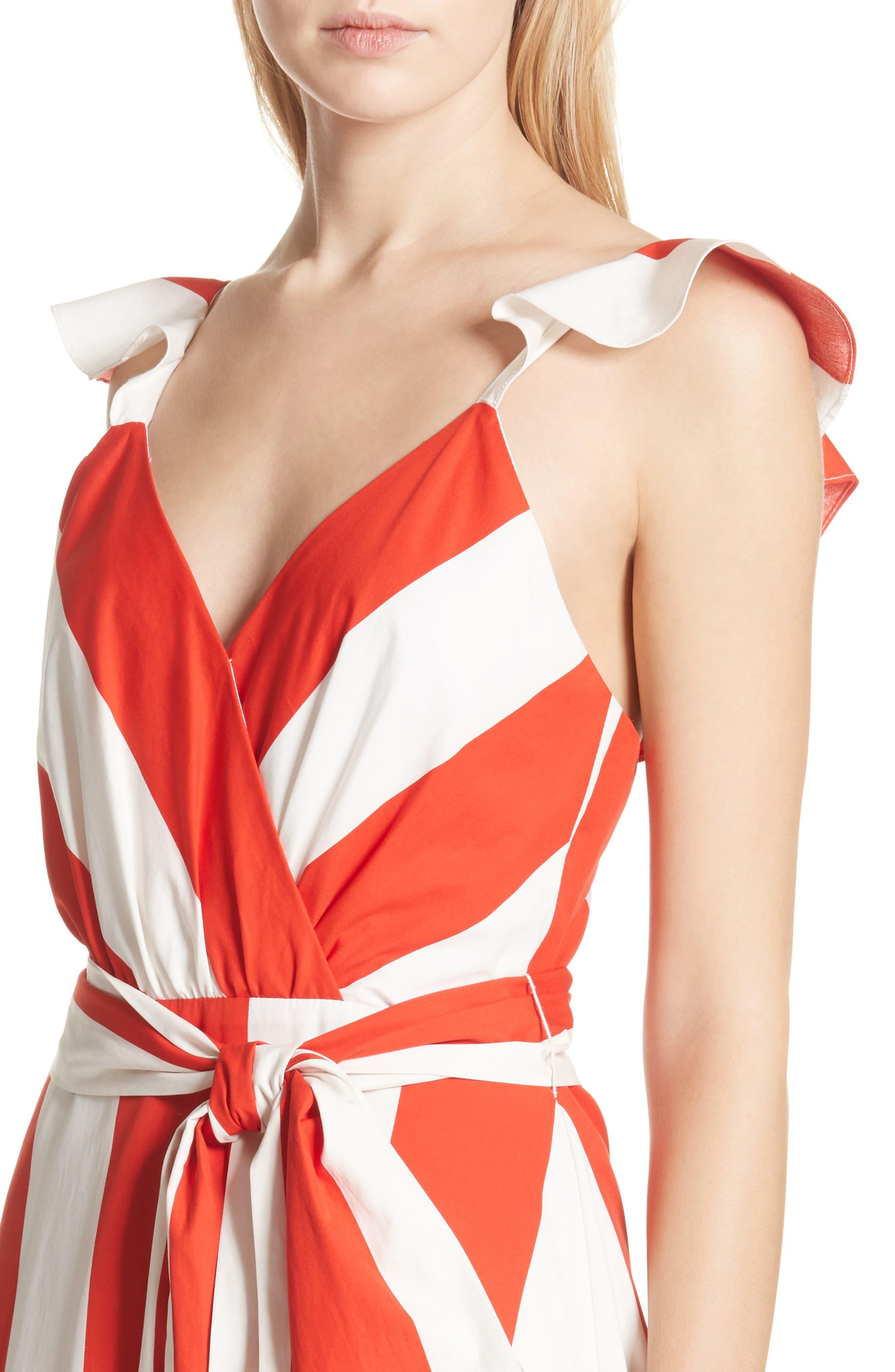 Fernanda Stripe Cotton Maxi Dress,                             Alternate thumbnail 4, color,                             Sixties Stripe- Poppy