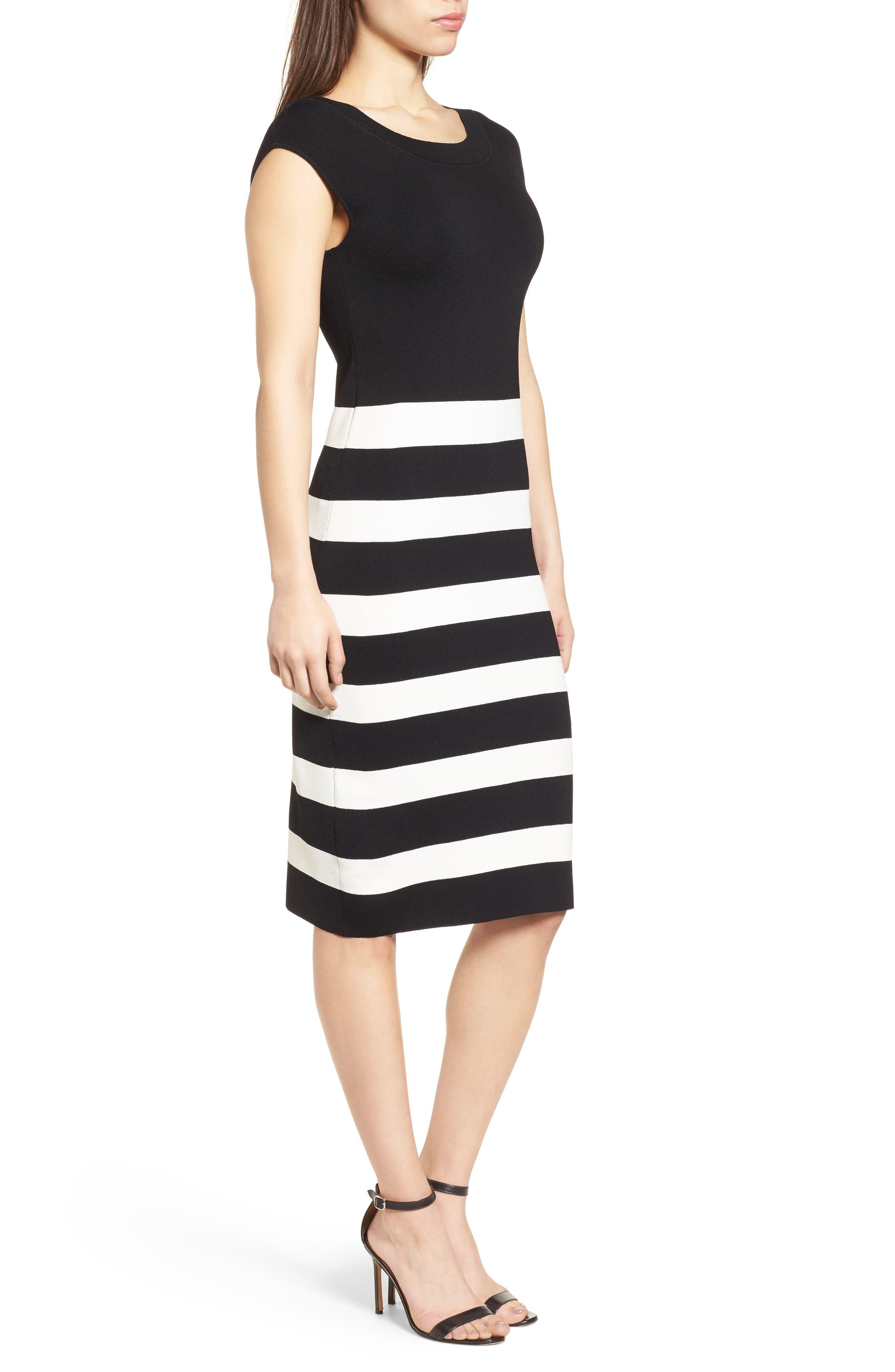 Bow Back Striped Sweater Dress,                             Alternate thumbnail 3, color,                             Black/ White