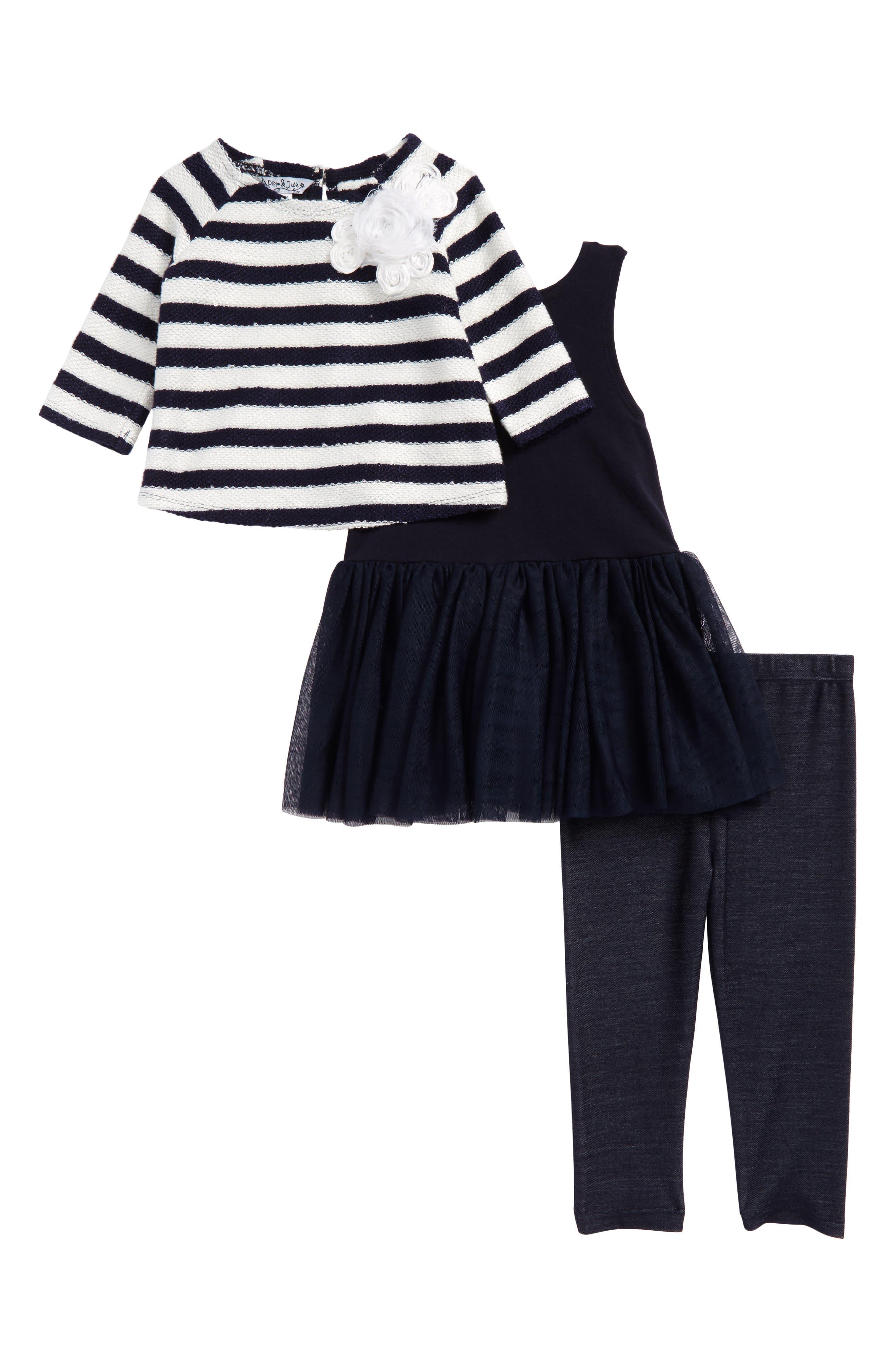Stripe Sweater, Tunic & Leggings Set,                         Main,                         color, Navy/ Ivory