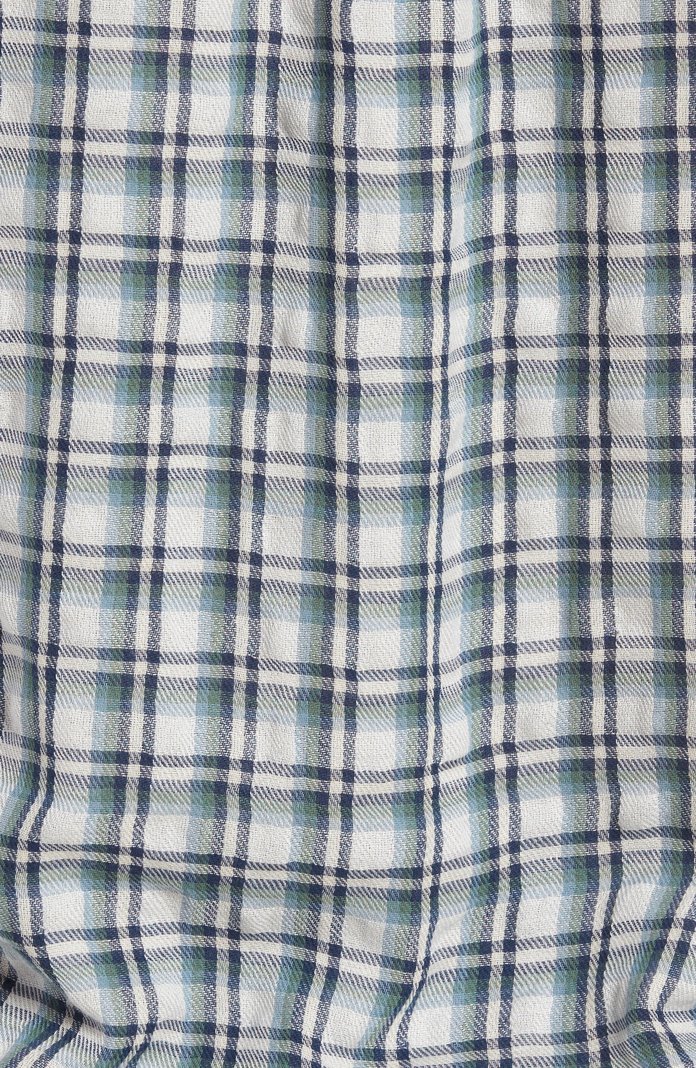 Boulder Double Cloth Plaid Sport Shirt,                             Alternate thumbnail 5, color,                             Cream Green Navy