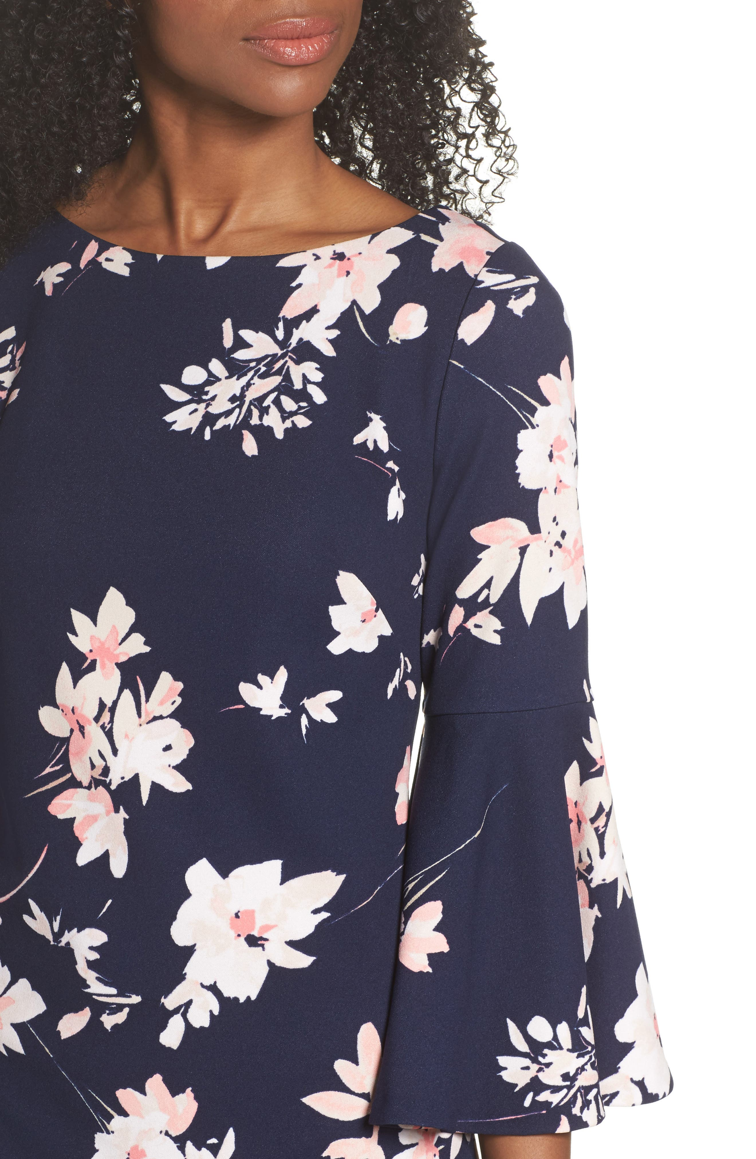 Floral Bell Sleeve Dress,                             Alternate thumbnail 4, color,                             Navy/ Pink