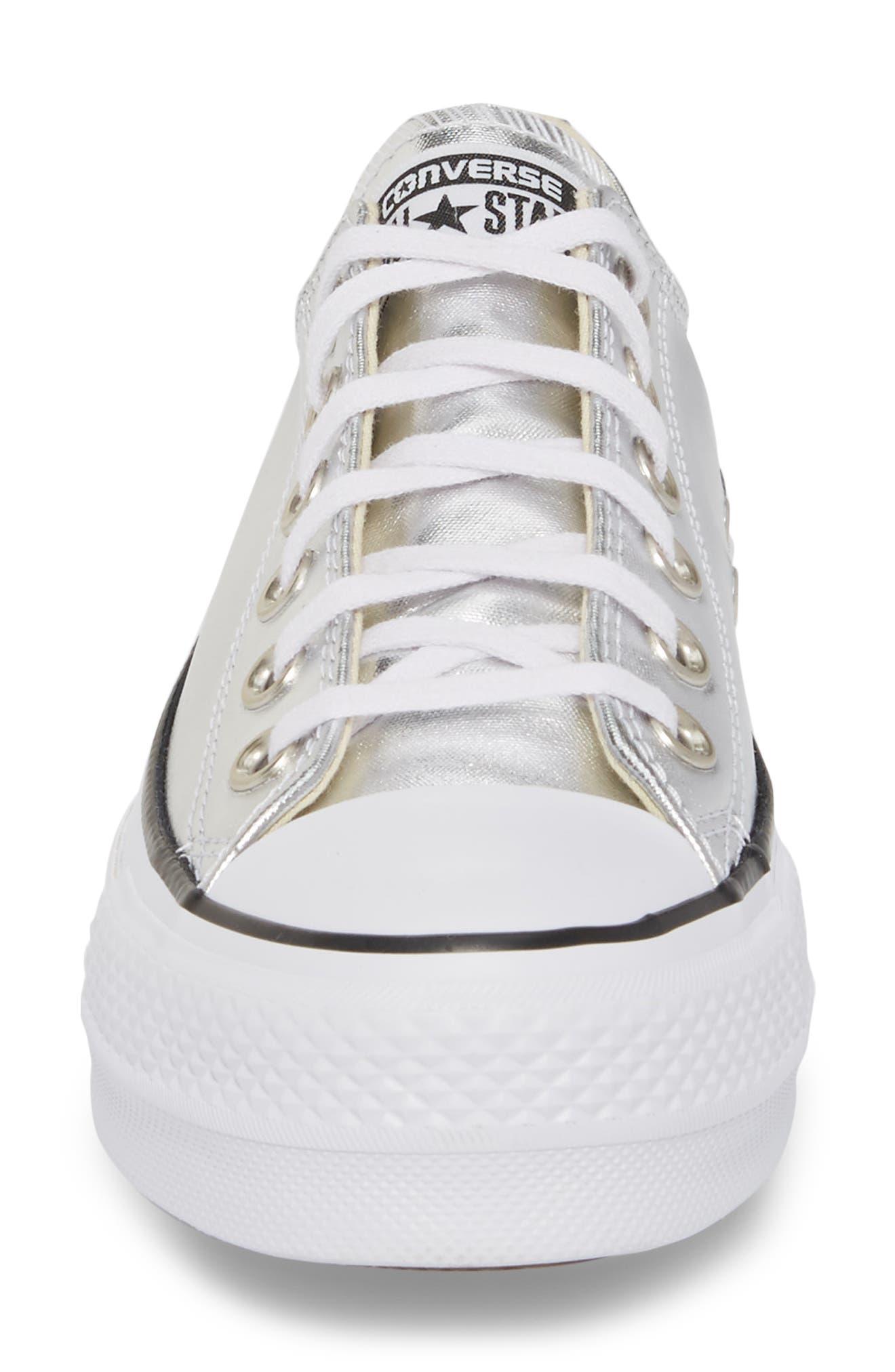 Chuck Taylor<sup>®</sup> All Star Platform Sneaker,                             Alternate thumbnail 4, color,                             Silver/ Black