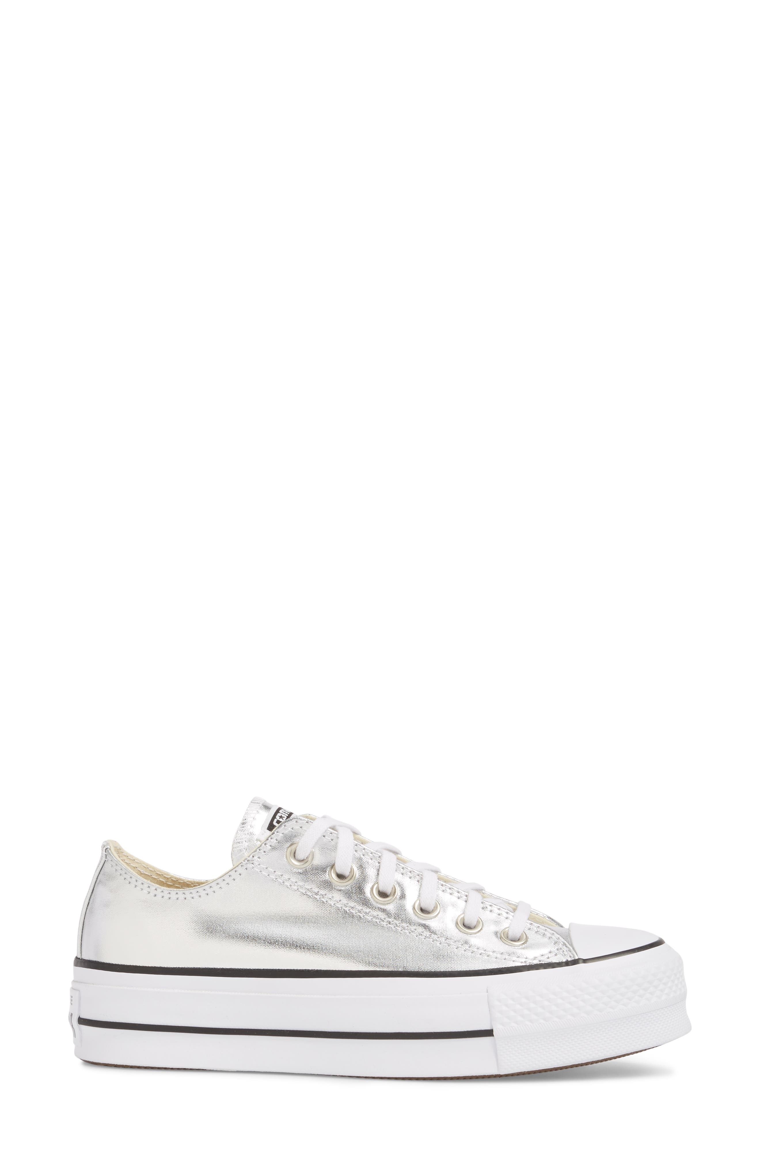 Chuck Taylor<sup>®</sup> All Star Platform Sneaker,                             Alternate thumbnail 3, color,                             Silver/ Black