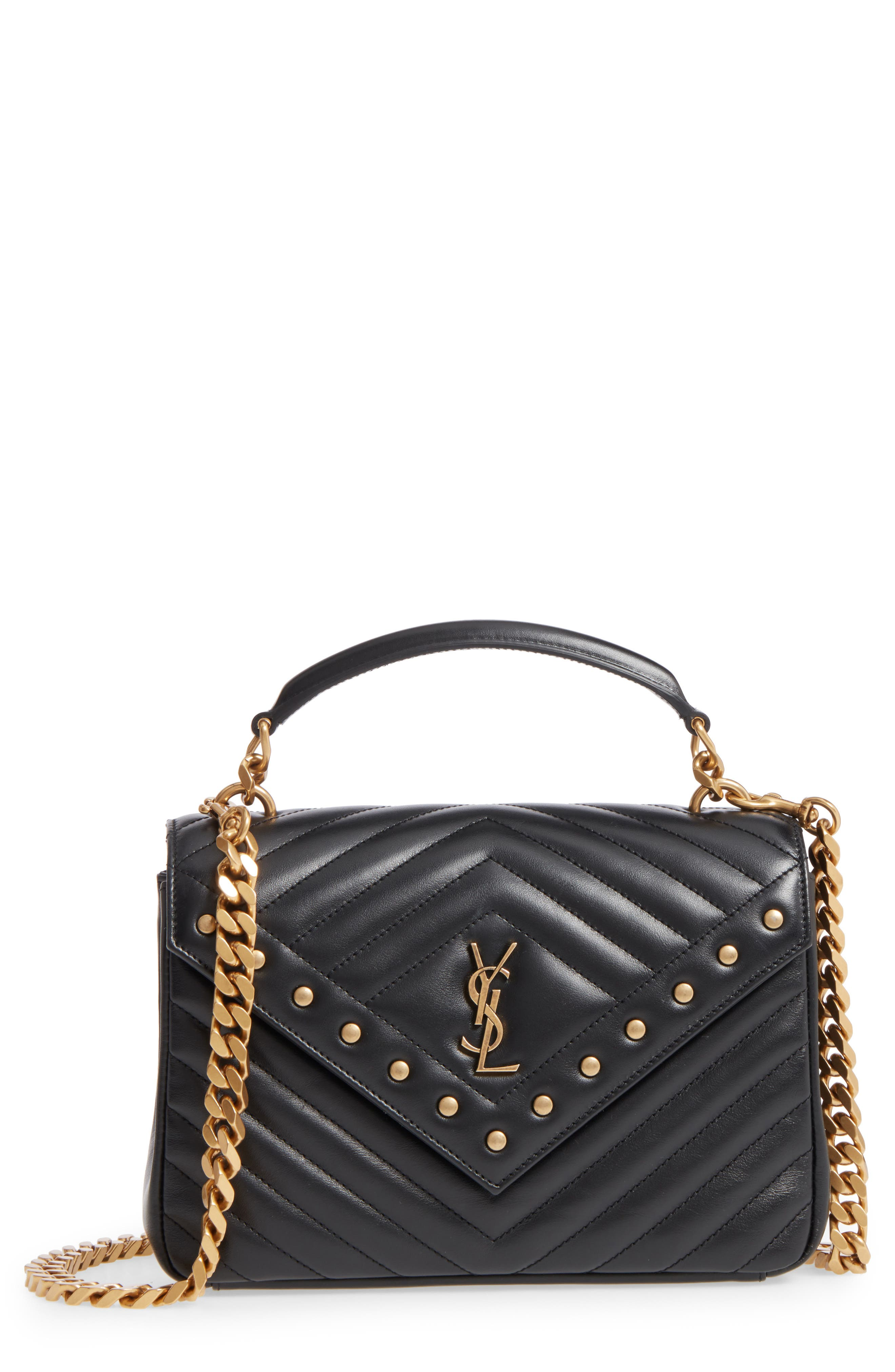 Saint Laurent Medium College Studded Matelassé Leather Satchel