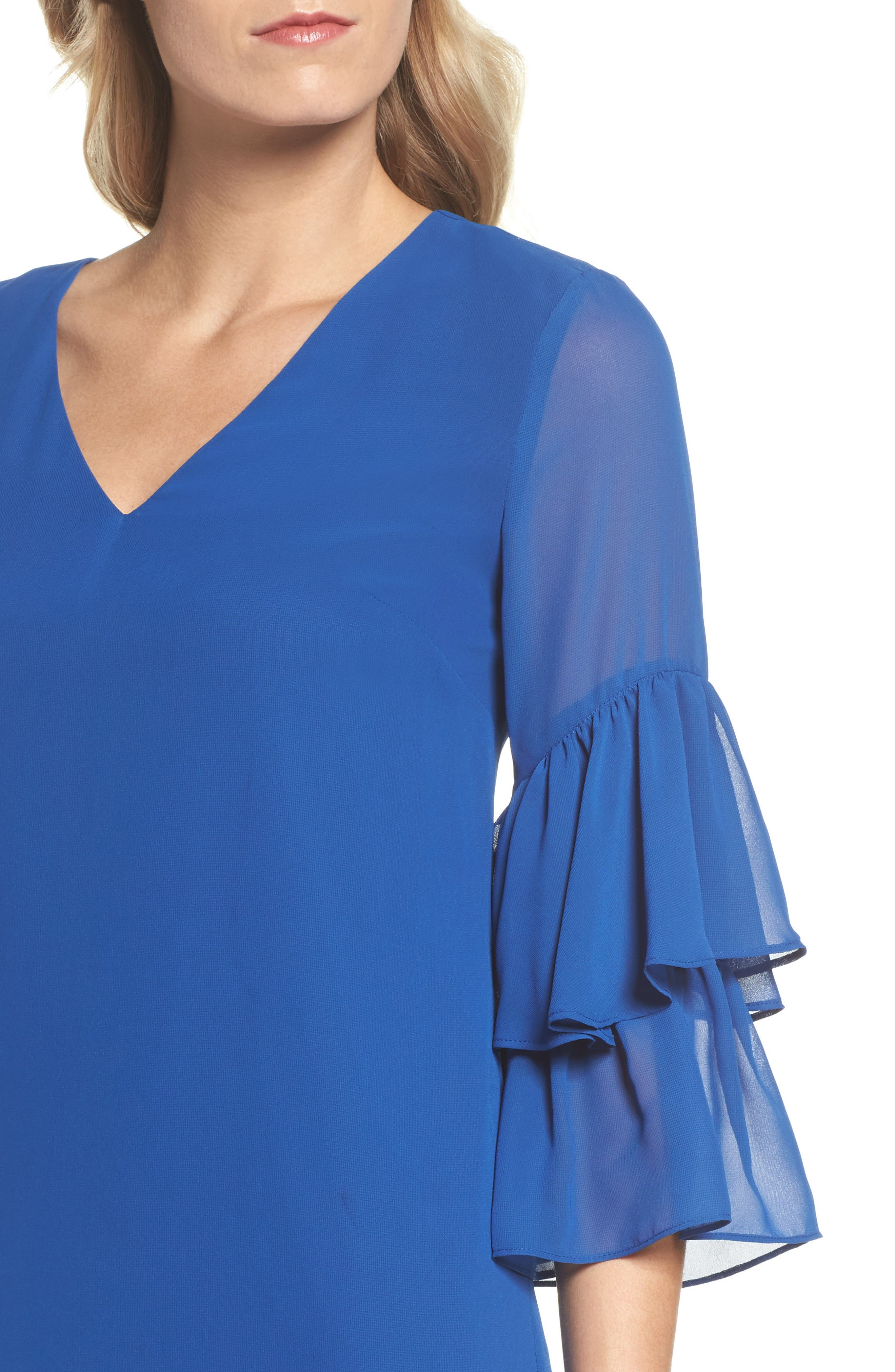 Carmen Tiered Ruffle Sleeve Shift Dress,                             Alternate thumbnail 4, color,                             Deep Sapphire