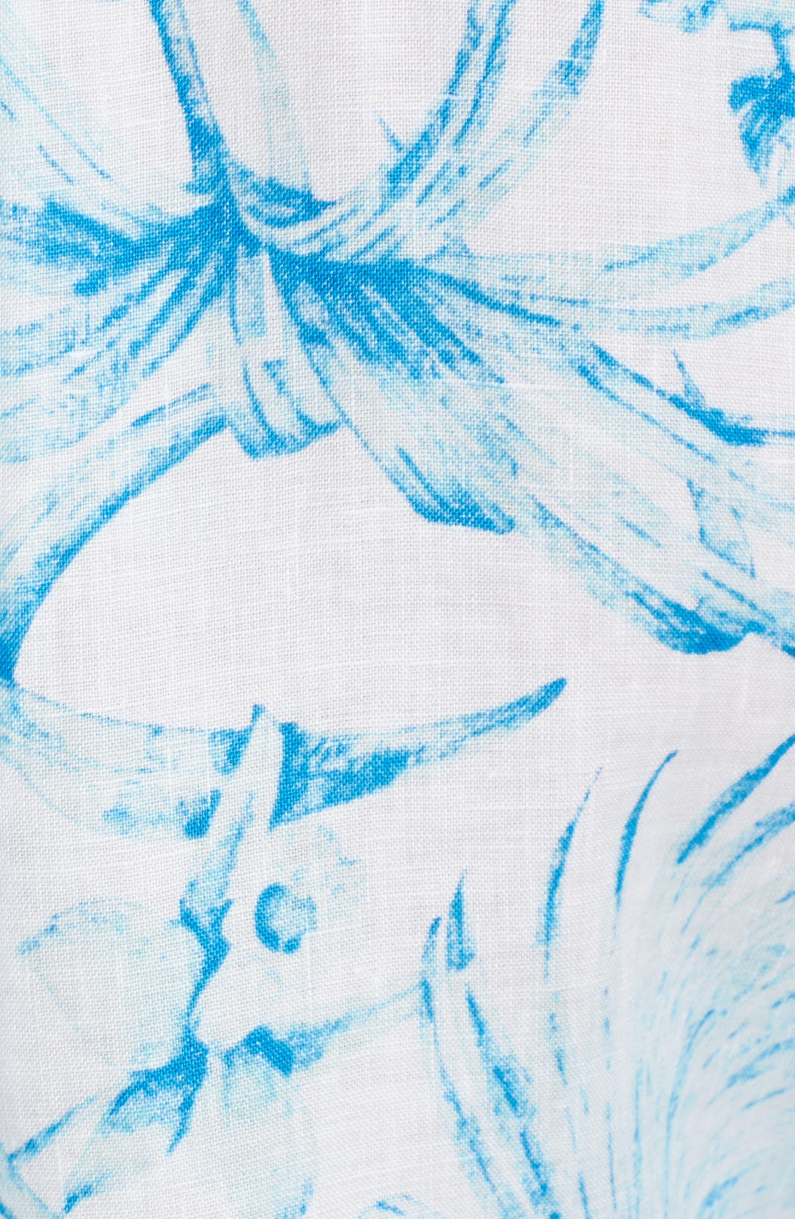 Tulum Tropical Linen Shirt,                             Alternate thumbnail 5, color,                             Blue Radiance